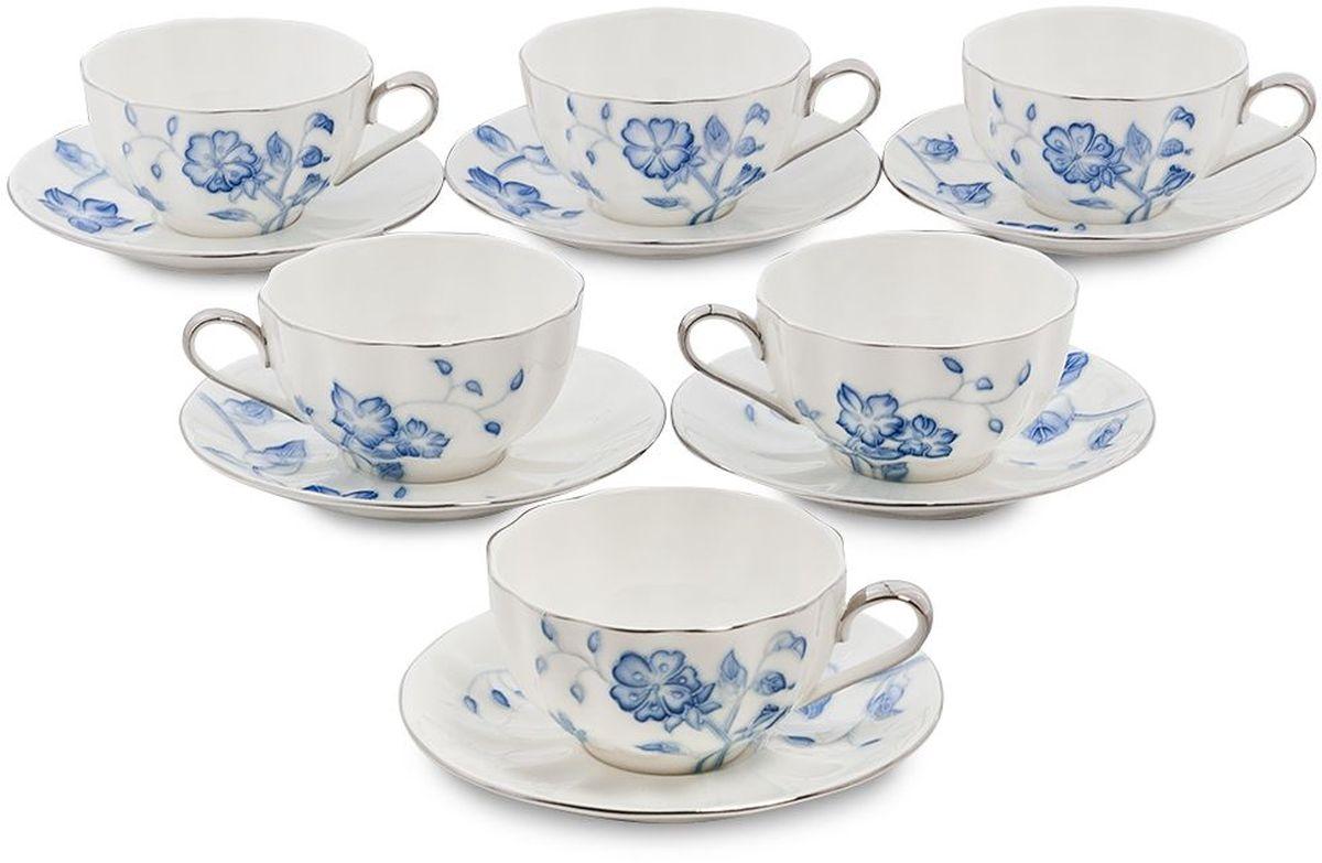 Набор чайный Pavone Голубая бабочка, 6 предметов. 451603451603Объем чашки: 200 мл Диаметр блюдца: 14 см.