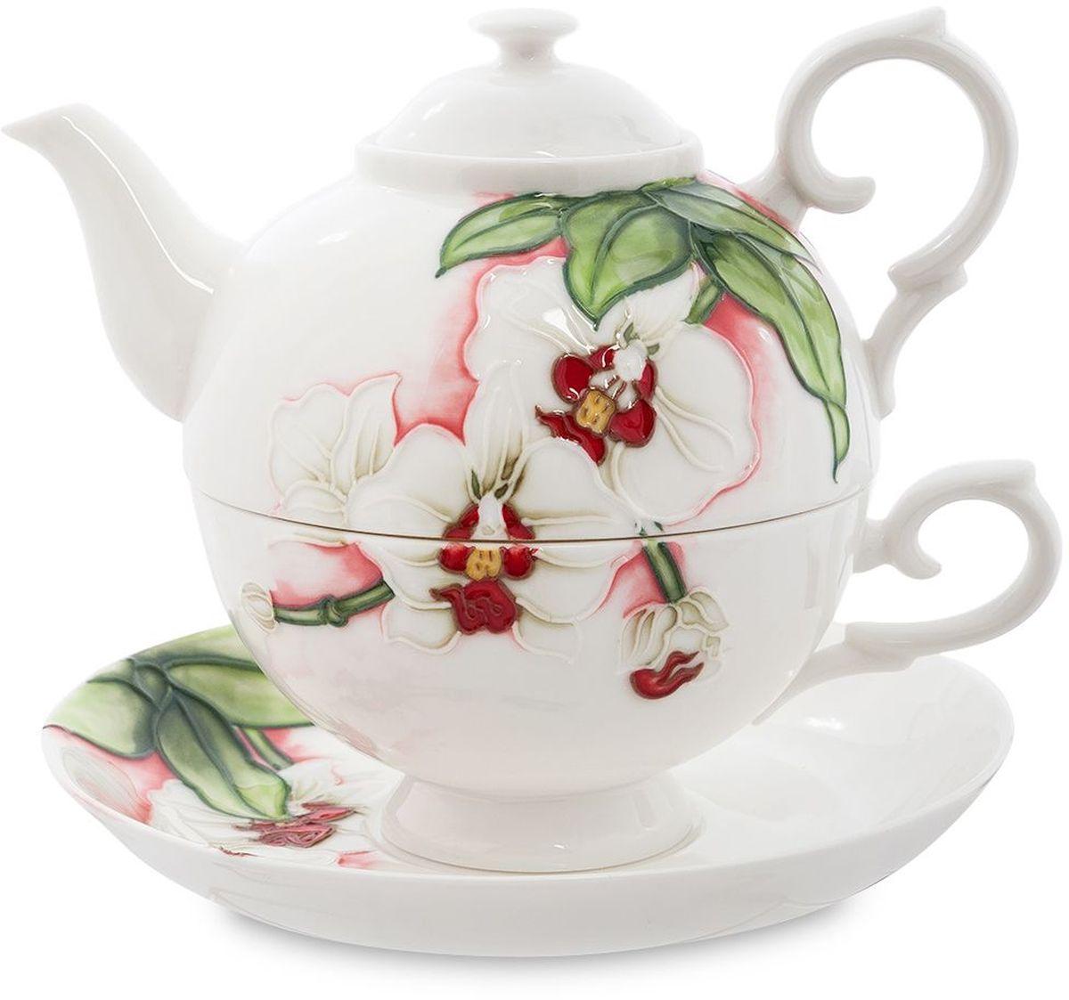 Набор чайный Pavone Королевская орхидея, 3 предмета. 451610451610Объем чайника: 400 мл Объем чаши: 250 мл Диаметр блюдца: 15 см