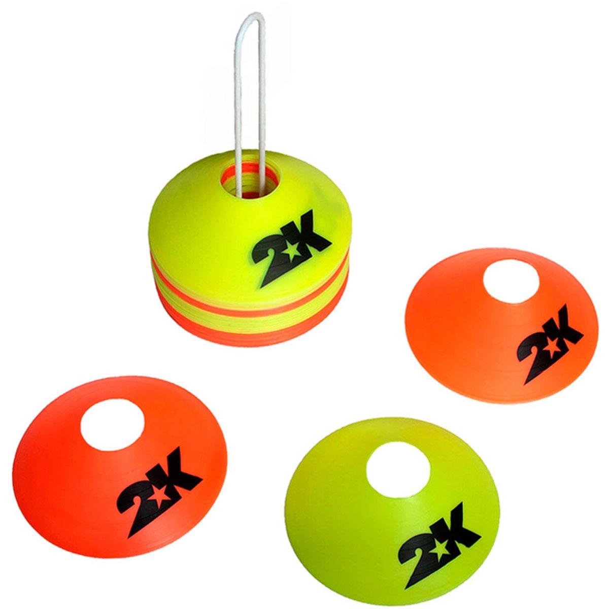 Комплект конусов 2K Sport, цвет: желтый, оранжевый, 40 шт127805Комплект тренировочных конусов 2K Sport применяется для разметки на поле. Изделия выполнены из прочного пластика. В комплект входят сорок конусов двух цветов и подставка.