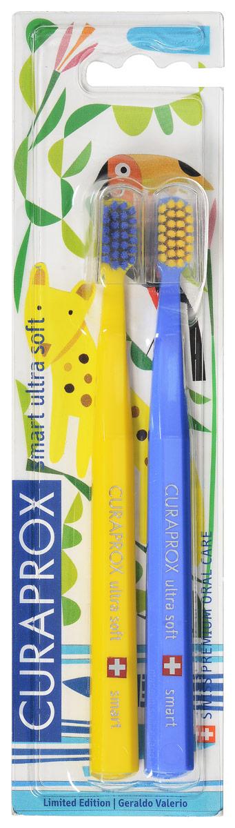 Curaprox CS smart/2 Duo Jungle Набор детских зубных щеток Curaprox CS smart ultra soft (2 шт.) цвет: желтый,голубойCS smart/2 Duo Jungle_желтый,голубой