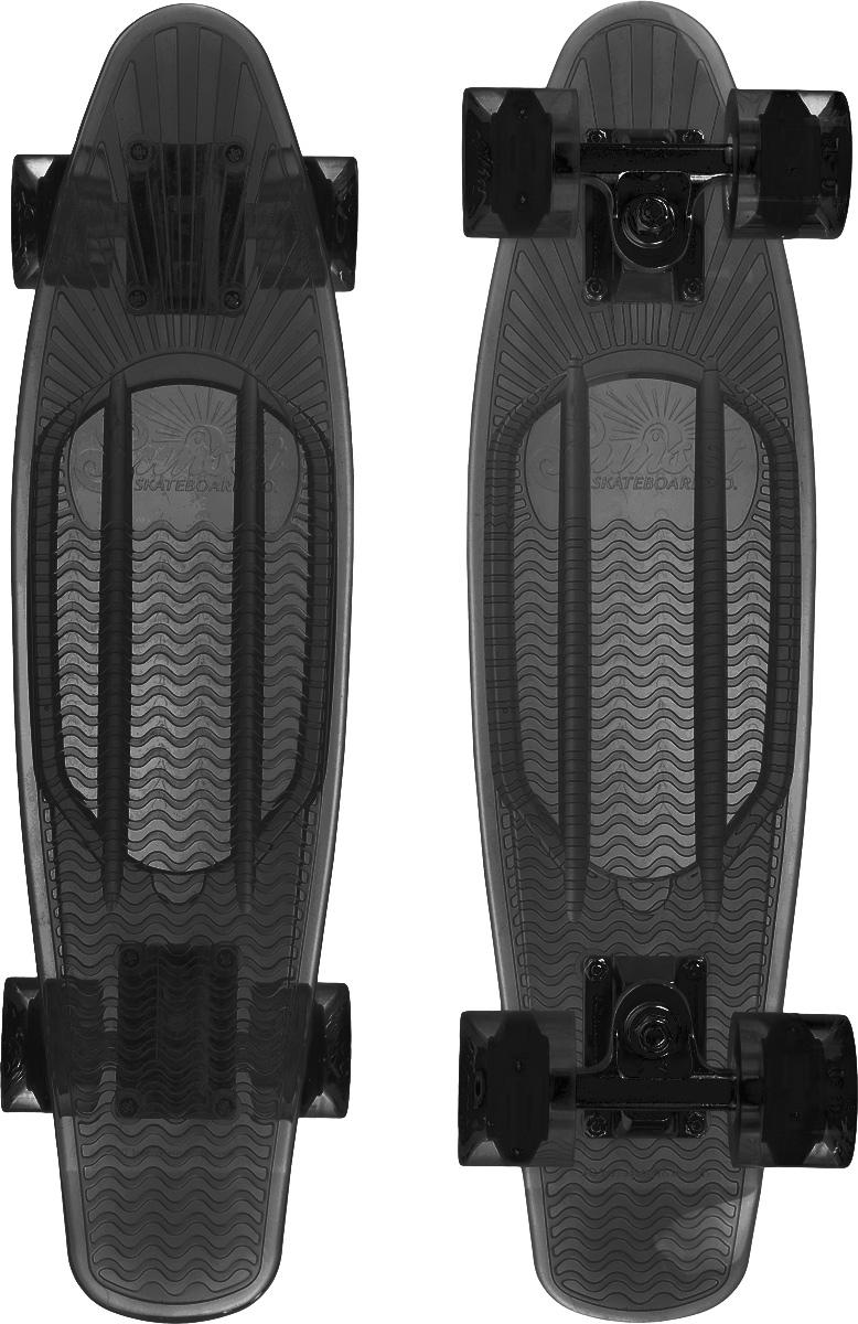 Скейтборд пластиковый Sunset Skateboards Smoke, цвет: темно-серый, дека 56 х 15 смSF 0085Красивый и функциональный пластборд Sunset Skateboards Smoke, изготовленныйиз прочного поликарбоната (PC), отлично сочетается со светящимися колесами Flare LED. Стильный днем и ночью,он создан для того, чтобы производить впечатление на окружающих. Пластборд сочетает в себе высокую прочность поликарбоната, который используют для производства бронестекол, гибкость и стабильность. Запатентованная формула с УФ-ингибиторами продлевает срок службы на открытом воздухе. Колеса выполнены из высококачественного полиуретана.Подходит для детей от 7 лет.