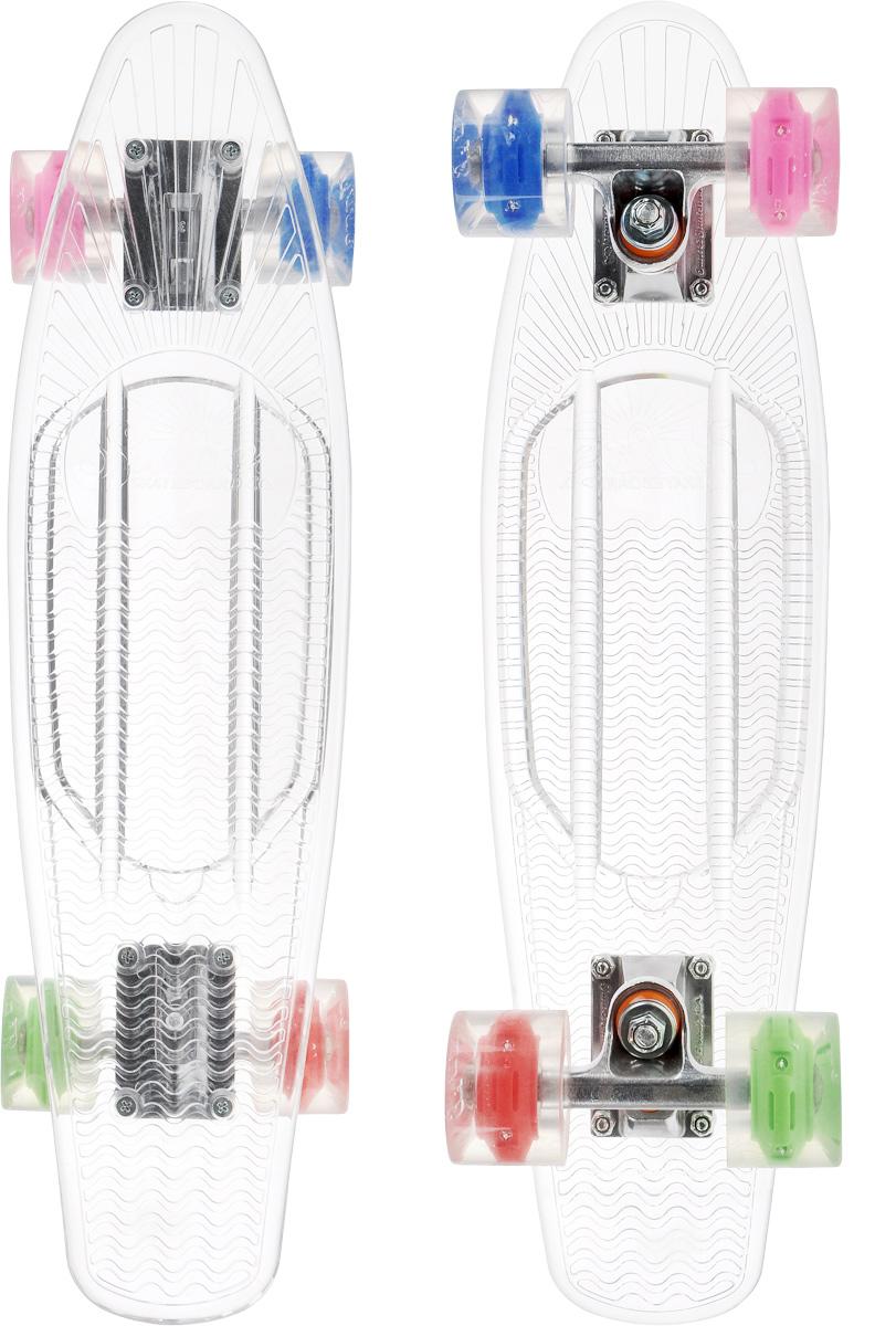 Скейтборд пластиковый Sunset Skateboards Hippy, цвет: прозрачный, зеленый, синий, дека 56 х 15 смHIPPY-C-G/PI/BКрасивый и функциональный пластборд Sunset Skateboards Hippy, изготовленный из прочного поликарбоната (PC), отлично сочетается со светящимися колесами Flare LED. Стильный днем и ночью, он создан для того, чтобы производить впечатление на окружающих. Пластборд сочетает в себе высокую прочность поликарбоната, который используют для производства бронестекол, гибкость и стабильность. Запатентованная формула с УФ-ингибиторами продлевает срок службы на открытом воздухе. Колеса выполнены из высококачественного полиуретана. Подходит для детей от 7 лет.