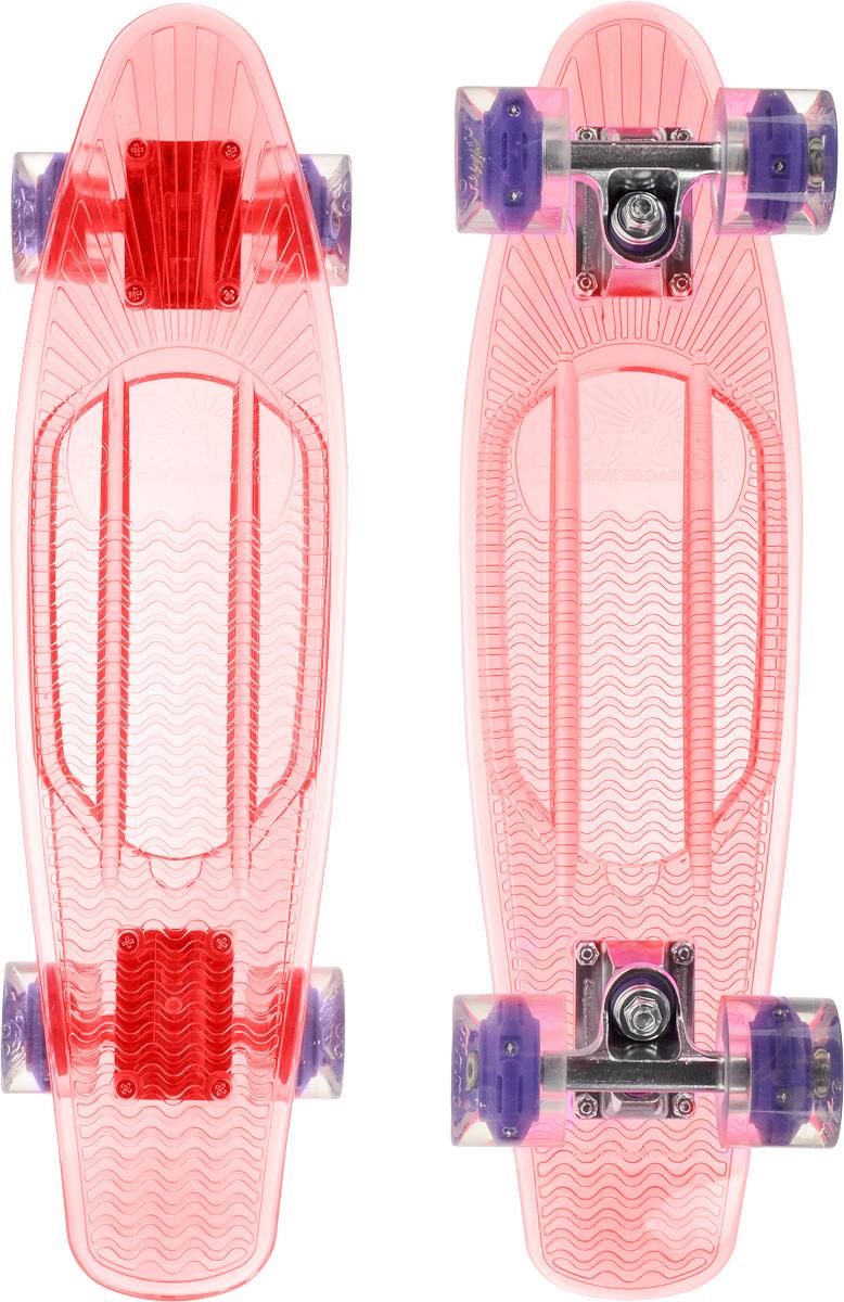 Скейтборд пластиковый Sunset Skateboards Princess, цвет: розовый, прозрачный, дека 56 х 15 смRU-417-1 Рюкзак /4 черный - желтыйКрасивый и функциональный пластборд Sunset Skateboards Princess, изготовленный из прочного поликарбоната (PC), отлично сочетается со светящимися колесами Flare LED. Стильный днем и ночью, он создан для того, чтобы производить впечатление на окружающих. Пластборд сочетает в себе высокую прочность поликарбоната, который используют для производства бронестекол, гибкость и стабильность. Запатентованная формула с УФ-ингибиторами продлевает срок службы на открытом воздухе. Колеса выполнены из высококачественного полиуретана.Подходит для детей от 7 лет.