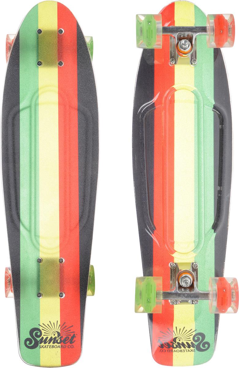 Скейтборд пластиковый Sunset Skateboards Rasta Grip, дека 68,5 х 19 смRASTA-Grip-RКрасивый и функциональный пластборд Sunset Skateboards Rasta Grip, изготовленный из прочного поликарбоната (PC), отлично сочетается со светящимися колесами Flare LED. Верхняя часть деки покрыта нескользящим слоем. Стильный днем и ночью, он создан для того, чтобы производить впечатление на окружающих. Пластборд сочетает в себе высокую прочность поликарбоната, который используют для производства бронестекол, гибкость и стабильность. Запатентованная формула с УФ-ингибиторами продлевает срок службы на открытом воздухе. Колеса выполнены из высококачественного полиуретана. Подходит для детей от 7 лет.
