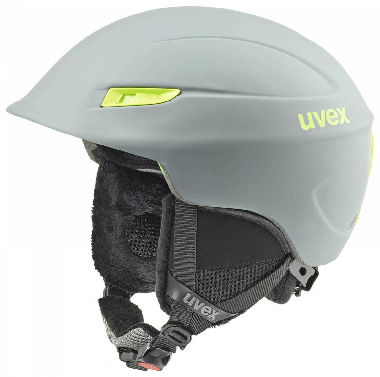 Шлем зимний Uvex Gamma, цвет: зеленый. Размер L/XL6189-5007Легкий шлем для комфортного и безопасного катания. Гипоаллергенный материал подкладки, Регулируемая система вентиляции, Съемная защита ушей, Фиксатор стрэпа маски, Система индивидуальной подгонки размера IAS, Застёжка monomatic®, Сделано в Германии Конструкция In-mould Вентиляция Регулируемая Сертификация EN 1077 B Регулировка размера Есть Тип регулировки размера IAS Материал внешней раковины ABS Материал внутренней раковины Пенополистирол Материал подкладки Полиэстер