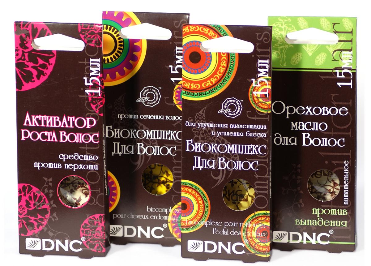 DNC Набор Маски для волос DNC, 4 шт по 15млFS-00897Активатор Роста Волос против перхоти. Активатор содержит репейное масло, способствующее росту волос, а также касторовое масло, оказывающее смягчающее действие на кожу головы, и укрепляющее корни волос. Также масло содержит витамин А, препятствующий чрезмерному ороговению кожи, который также выравнивает структуру волос, делая их послушными и сильными, и устраняет сухость. Витамин В5 уменьшает риск выпадения волос и укрепляет корни. Масло насыщает волосы необходимыми витаминами, восстанавливает структуру волос, избавляет их от перхоти, способствуя росту здоровых и сильных волос.Биоактивный комплекс для улучшения пигментации волос и усиления блеска.Сбалансированное средство с богатым содержанием природных питательных веществ и экстрактов для улучшения выработки красящего пигмента волос и усиления естественного блеска. Благодаря высокому содержанию сока алоэ, коллагеновому комплексу, экстракту золотого корня, розмарина и крапивы биоактивный комплекс способствует нормализации обменных процессов в кожном покрове головы, насыщает кислородом корни волос и улучшает выработку естественного красящего пигмента, способствуя росту сильных и послушных волос.Биоактивный комплекс против сечения волос. Сбалансированное средство с богатым содержанием природных питательных веществ и экстрактов для улучшения выработки красящего пигмента волос и усиления естественного блеска. Благодаря высокому содержанию сока алоэ, коллагеновому комплексу, экстракту золотого корня, розмарина и крапивы биоактивный комплекс способствует нормализации обменных процессов в кожном покрове головы, насыщает кислородом корни волос и улучшает выработку естественного красящего пигмента, способствуя росту сильных и послушных волос.Ореховое масло для ухода за волосами питательное Против выпадения.Интенсивный комплекс на основе кедрового масла. Сочетание масел обеспечивает быстрое проникновение активных веществ к волосяным луковицам в течение процедуры. Нанесенное на