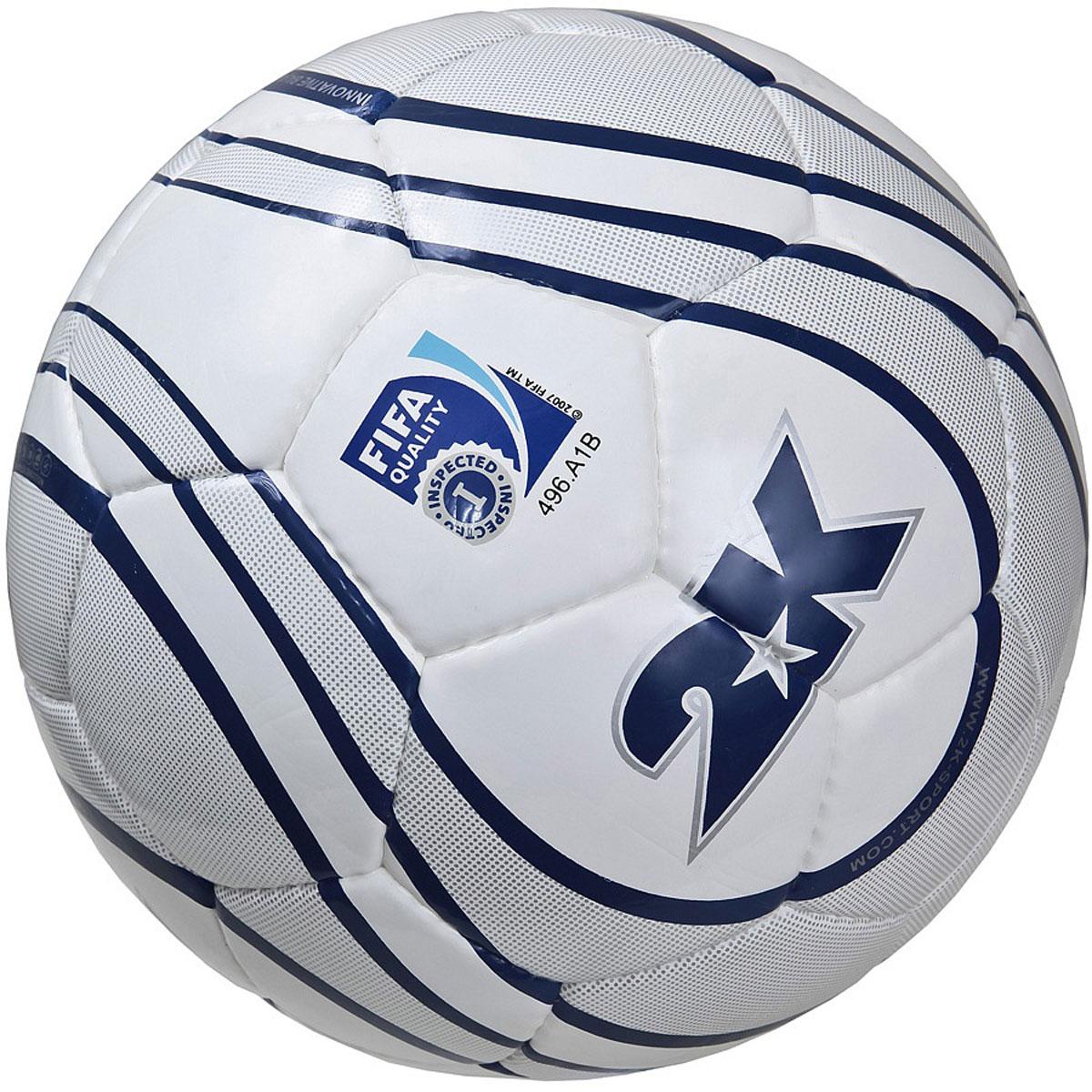 """Мяч футбольный 2K Sport """"Parity"""", цвет: белый, серый, синий. Размер 5 127084F"""
