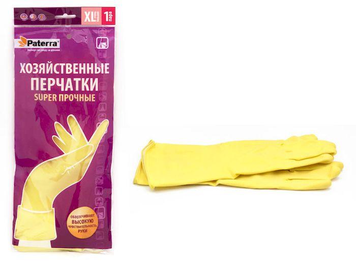 Перчатки хозяйственные Paterra Super прочные. Размер 10 (XL)790009Хозяйственные перчатки Paterra Super прочные предназначены для защиты рук от воздействия воды, пищевых жиров и бытовых моющих средств. Перчатки прочные и долговечные, выполнены из латекса с внутренним напыление из хлопка, которое препятствует парниковому эффекту ладони. Без резкого запаха резины. Перчатки имеют высокую манжету - 14 см.
