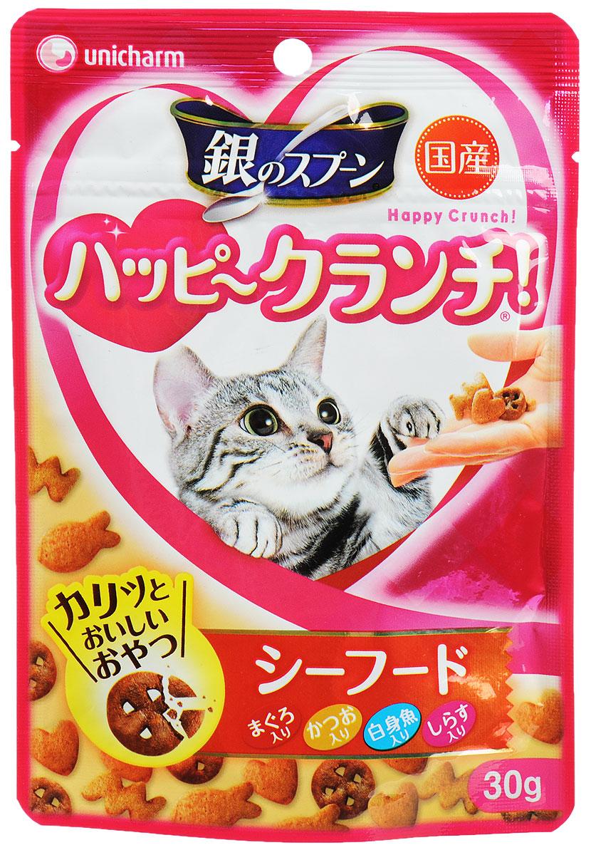 Лакомство для кошек Unicharm Silver Spoon, печенье из морепродуктов, 30 г0120710Хрустящее лакомство Unicharm Silver Spoon - это питательное и полезное дополнение к ежедневному рациону. Ароматное печенье с роскошным вкусом тунца и скумбрии богато витаминами и минералами, содержит питательные вещества, необходимые кошке для нормального роста и развития.Товар сертифицирован.