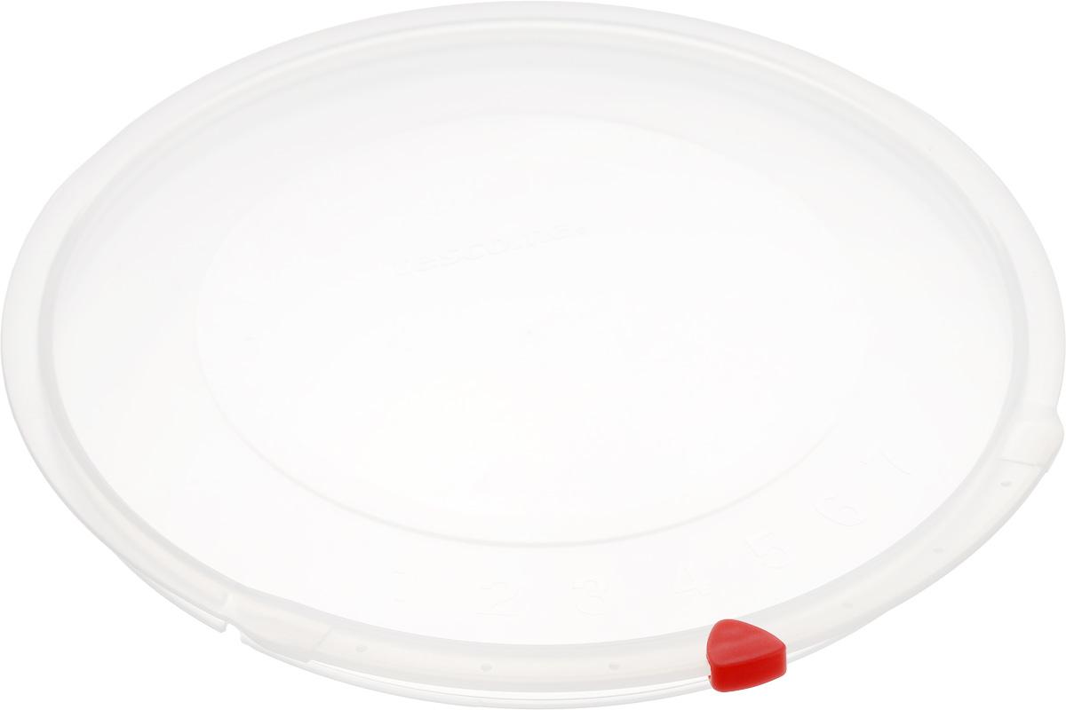 Крышка Tescoma Unicover, диаметр 22 см94672Крышка Tescoma Unicover используется при хранении еды, для закрытия высоких кастрюль, кастрюль и ковшей из нержавеющей стали. Плоская форма крышки позволяет складывать посуду в целях экономии места в холодильнике. Пища, закрытая пластиковой крышкой, не высыхает и не впитывает запахи других продуктов питания. На крышке имеется семидневный датировщик для индикации с первого дня хранения. Изделие выполнено из пластмассового материала, предназначенного для медицинских и фармацевтических целей. Можно мыть в посудомоечной машине.Подходит для кастрюль диаметром 22 см.Диаметр крышки (по верхнему краю): 23,5 см.