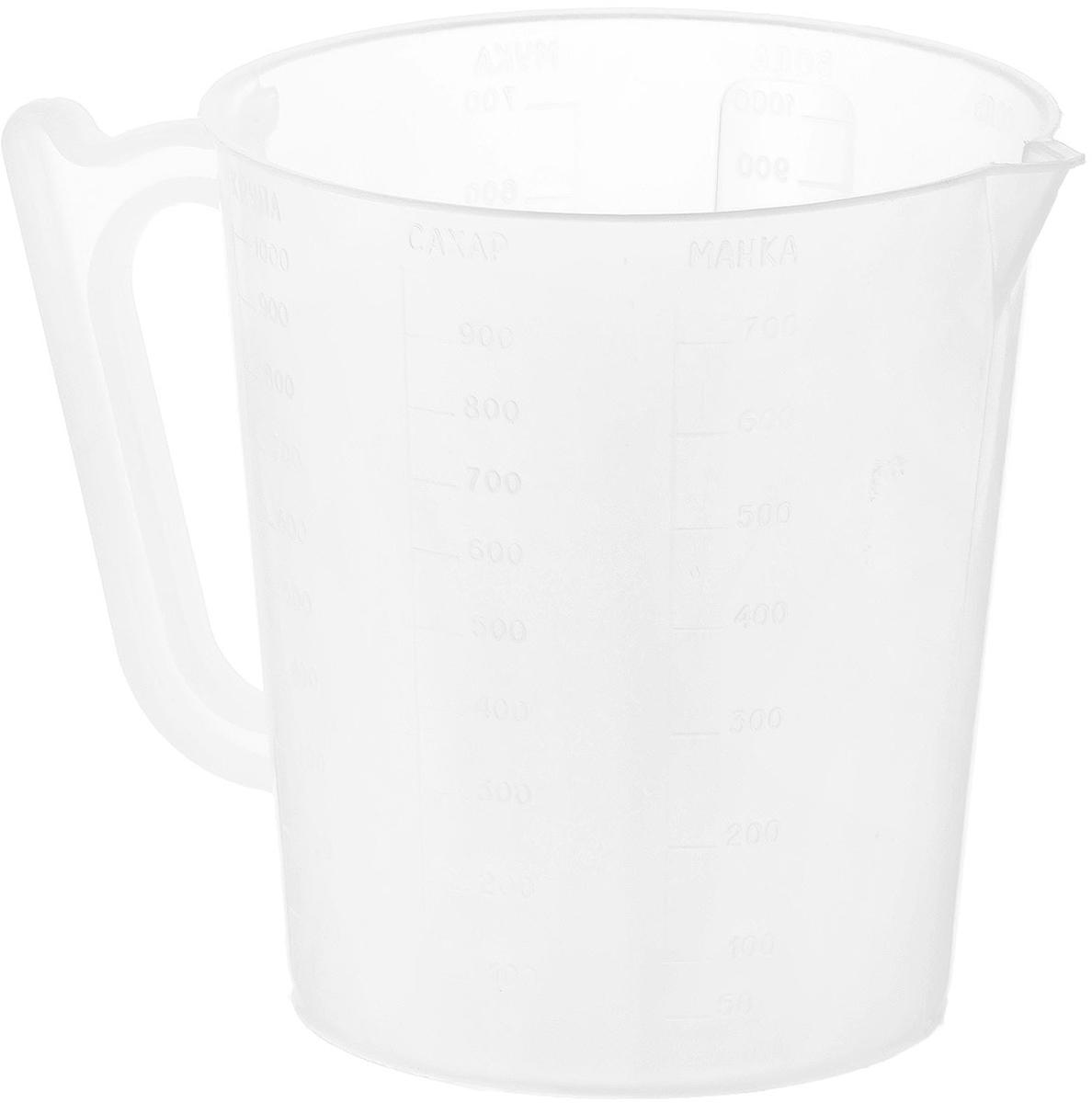 Мерный стакан Хозяюшка Мила, 1 л36014Мерный стакан Хозяюшка Мила, выполненный из плотного полипропилена, станет незаменимым аксессуаром на вашей кухне, ведь зачастую для приготовления блюд необходима точность. Стакан имеет удобную ручку и носик, которые делают изделие еще более простым в использовании. Стакан позволяет мерить жидкости до 1000 мл. Диаметр стакана по верхнему краю: 12 см. Высота стакана: 13,5 см. Не рекомендуется мыть стакан в посудомоечной машине.