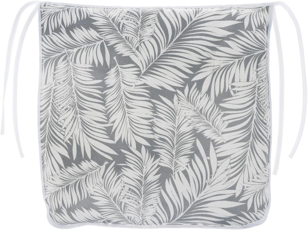 Подушка на стул KauffOrt Пальма, цвет: серый, белый, 40 x 40 см3112182140Подушка на стул KauffOrt Пальма не только красиво дополнит интерьер кухни, но и обеспечит комфорт при сидении. Чехол выполнен из хлопка и полиэстера, а наполнитель из холлофайбера. Подушка легко крепится на стул с помощью завязок. Правильно сидеть - значит сохранить здоровье на долгие годы. Жесткие сидения подвергают наше здоровье опасности. Подушка с мягким наполнителем поможет предотвратить большинство нежелательных последствий сидячего образа жизни. Толщина подушки: 5 см.