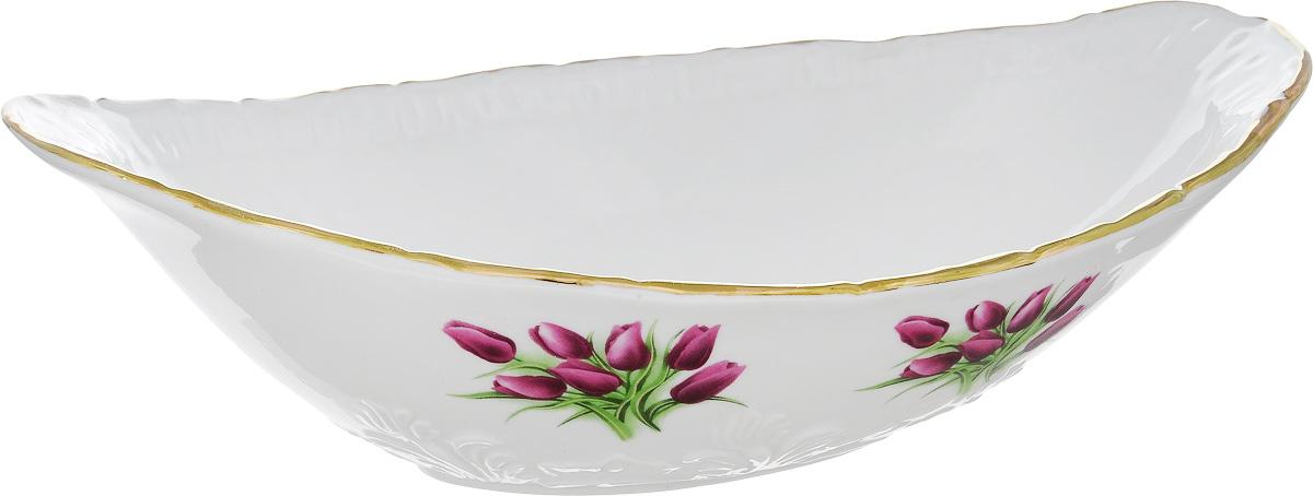 Салатник Фарфор Вербилок Ладья. Тюльпаны, 1,2 лVT-1520(SR)Салатник Фарфор Вербилок Ладья. Тюльпаны изготовлен из высококачественного фарфора. Внешняя стенка оформлена красочным изображением. Такой салатник будет смотреться не только стильно, но и элегантно. Он дополнит коллекцию кухонной посуды и будет служить долгие годы. Размер салатника (по верхнему краю): 27,5 х 15 см. Высота салатника: 8 см.