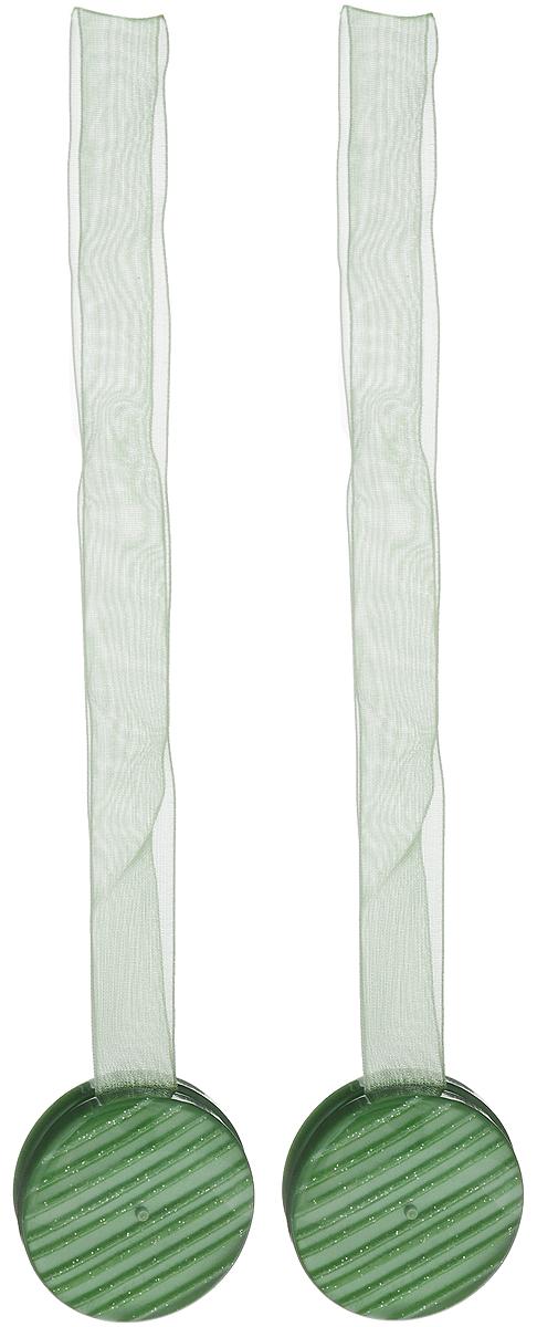 Подхват для штор TexRepublic Ajur. Lenta, на магнитах, цвет: зеленый, диаметр 4 см, 2 шт. 7901179011Изящный подхват для штор TexRepublic Ajur. Lenta, выполненный из пластика и текстиля, можно использовать как держатель для штор или для формирования декоративных складок на ткани. С его помощью можно зафиксировать шторы или скрепить их, придать им требуемое положение, сделать симметричные складки. Благодаря магнитам подхват легко надевается и снимается. Подхват для штор является универсальным изделием, которое превосходно подойдет для любых видов штор. Подхваты придадут шторам восхитительный, стильный внешний вид и добавят уют в интерьер помещения. Длина подхвата: 36 см. Диаметр: 4 см. Количество: 2 шт.
