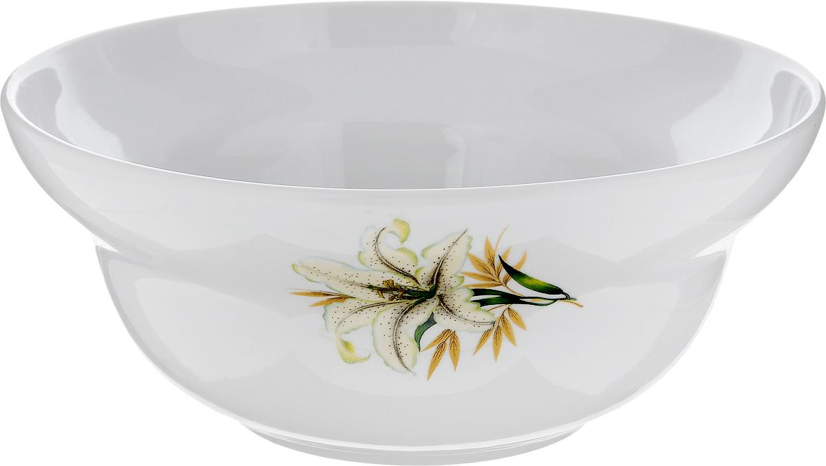 Салатник Фарфор Вербилок Белая лилия, 1,2 л10951980Салатник Фарфор Вербилок Белая лилия изготовлен из высококачественного фарфора. Внешняя стенка оформлена красочным изображением. Такой салатник будет смотреться не только стильно, но и элегантно. Он дополнит коллекцию кухонной посуды и будет служить долгие годы. Диаметр салатника (по верхнему краю): 19 см. Высота салатника: 8 см.