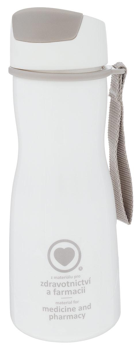 Бутылка для воды Tescoma Purity, цвет: белый, серый, 500 мл891980.11Стильная бутылка для воды Tescoma Purity, изготовленная из высококачественного пластика, оснащена съемным текстильным ремешком и крышкой с силиконовым уплотнителем, которая плотно и герметично закрывается, сохраняя свежесть и изначальную температуру напитка. Изделие прекрасно подойдет для использования в жаркую погоду: вода долго сохраняет первоначальные свойства и вкусовые качества. При необходимости в бутылку можно наливать витаминизированные напитки, фруктовые соки, чай или протеиновые коктейли. Такую бутылку можно без опаски положить в рюкзак, закрепить на поясе или велосипедной раме. Она пригодится как на тренировках, так и в походах или просто на прогулке. Бутылку разрешено кипятить и мыть в посудомоечной машине. Изделие можно использовать в холодильнике и микроволновой печи. Ремешок и крышку не рекомендуется мыть в посудомоечной машине. Диаметр горлышка бутылки: 5 см. Высота бутылки (без учета крышки): 18,7...