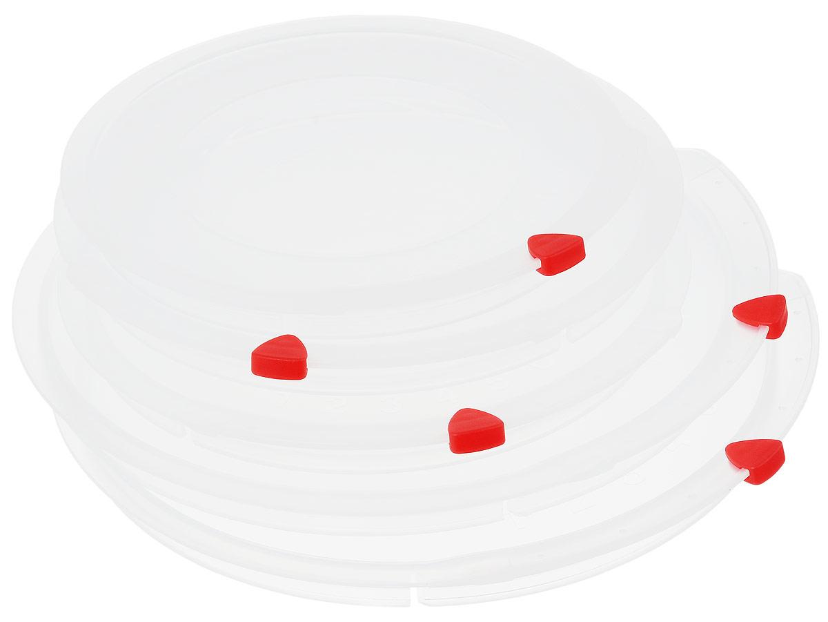 Набор крышек Tescoma Unicover, 5 шт. 782850782850Набор Tescoma Unicover состоит из пяти крышек разного размера. Предназначен для наборов посуды из нержавеющей стали Tescoma Presto, Ambition, Viva. Также можно использовать при хранении еды, для закрытия высоких кастрюль, кастрюль и ковшей из нержавеющей стали. Плоская форма крышек позволяет складывать посуду в целях экономии места в холодильнике. Пища, закрытая пластиковой крышкой, не высыхает и не впитывает запахи других продуктов питания. На крышках имеется семидневный датировщик для индикации с первого дня хранения. Изделия выполнены из пластика, предназначенного для медицинских и фармацевтических целей. Можно мыть в посудомоечной машине. Подходит для кастрюль диаметром 2 х 16 см; 2 х 20 см; 1 х 24 см. Диаметр крышек (по верхнему краю): 25,5 см; 21,5 см; 17,5 см.