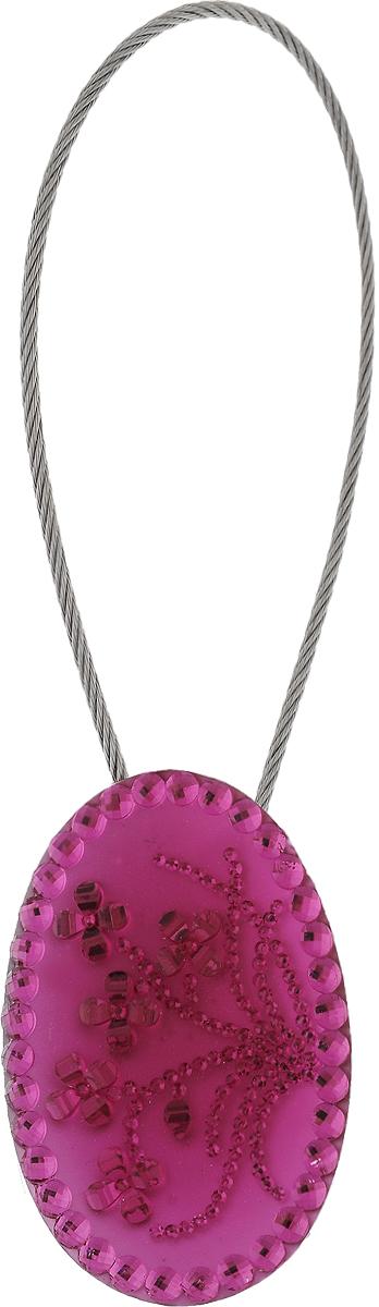 Подхват для штор TexRepublic Ajur. Tross, на магнитах, цвет: серебряный, розовый. 7899978999Изящный подхват для штор TexRepublic Ajur. Tross, выполненный из пластика и металла, можно использовать как держатель для штор или для формирования декоративных складок на ткани. С его помощью можно зафиксировать шторы или скрепить их, придать им требуемое положение, сделать симметричные складки. Благодаря магнитам подхват легко надевается и снимается. Подхват для штор является универсальным изделием, которое превосходно подойдет для любых видов штор. Подхваты придадут шторам восхитительный, стильный внешний вид и добавят уют в интерьер помещения. Длина подхвата: 20 см. Диаметр: 3,5 см.