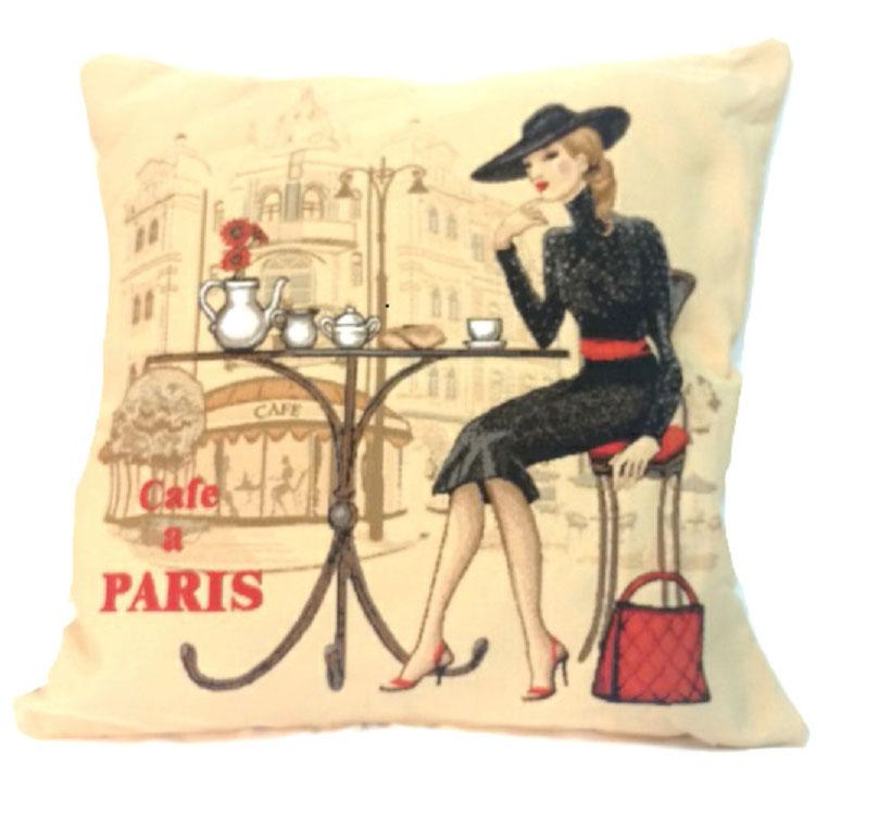 Подушка декоративная Рапира Кафе Париж. Блондинка, 45 х 45 см4381Декоративная подушка с наполнителем холлофайбер со съёмным чехлом на молнии, выполненным из жаккарда, - это яркий штрих в интерьере комнаты. Лицевая сторона - гобелен (жаккардовое ткачество), оборотная сторона - однотонная ткань типа плюш.