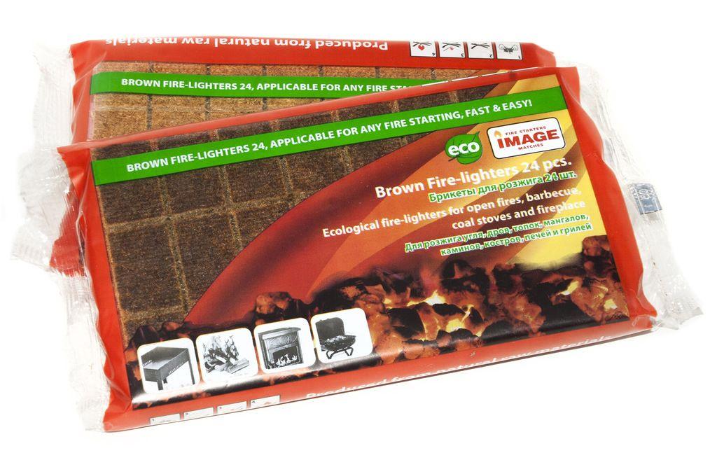 Брикеты для розжига Image, 24 штХот ШейперсБрикеты предназначены для разжигания угля, дров, топок, костров, печей, мангалов и грилей. Легко и быстро разгораются сильным пламенем. Время горения 1шт – 6 мин. С помощью брикетов можно без труда разжечь огонь в сырую и ветреную погоду, даже в случае намокания. Состав: пакет, пленка ПВХ, ДВП, пропитывающий состав из парафина.
