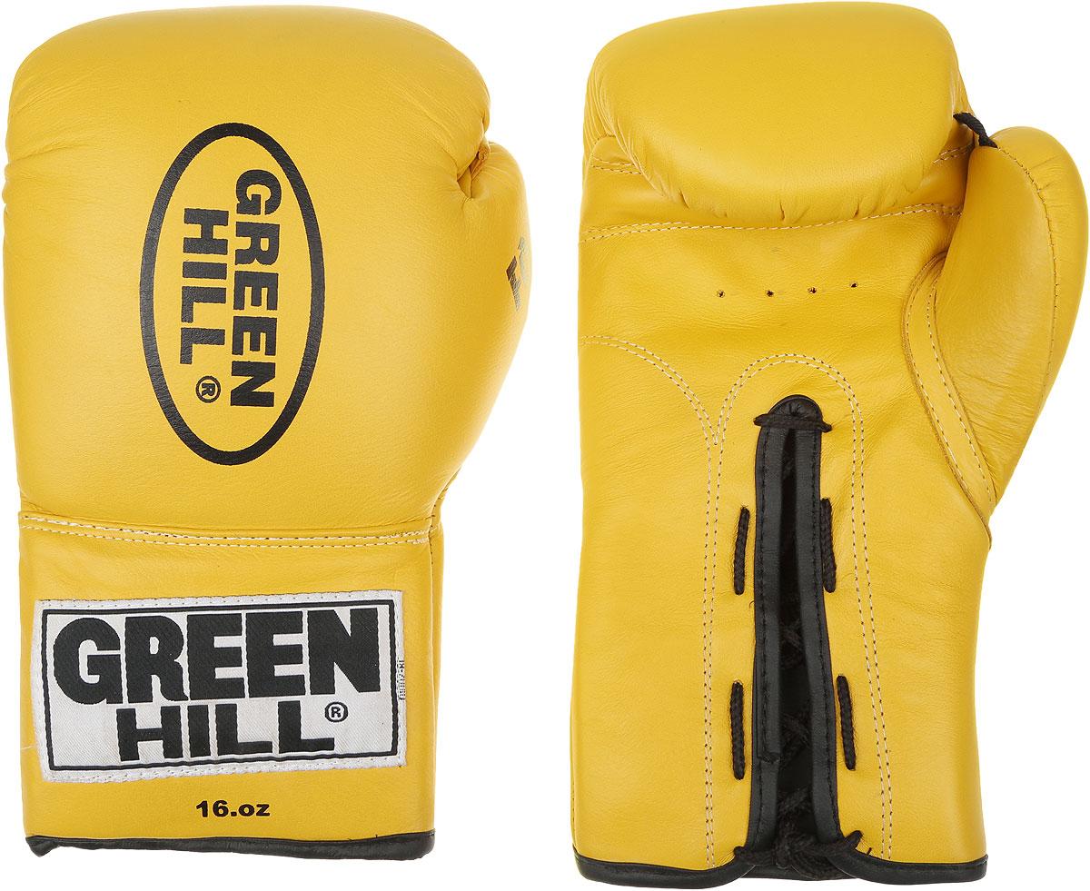 Перчатки боксерские Green Hill Force, цвет: желтый, черный. Вес 16 унций. BGF-1215RivaCase 7560 greyБоксерские перчатки Green Hill Force предназначены для использования профессионалами и любителями. Верх выполнен из натуральной кожи, наполнитель - из вспененного полимера. Отверстия в области ладони позволяет создать максимально комфортный терморежим во время занятий. Манжет на шнуровке способствует быстрому и удобному надеванию перчаток, плотно фиксирует перчатки на руке.