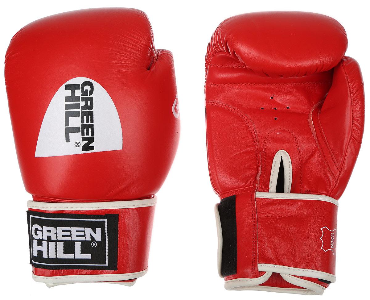 """Перчатки боксерские Green Hill """"Gym"""", цвет: красный, белый. Вес 14 унций BGG-2018"""