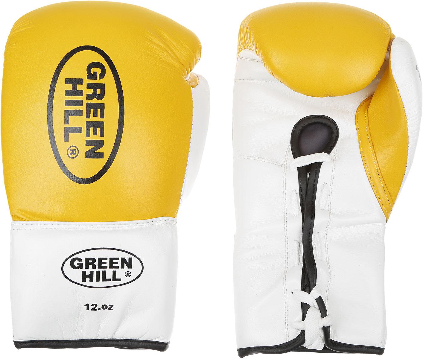 Перчатки боксерские Green Hill Proffi, цвет: желтый, черный, белый. Вес 12 унций. BGP-2014AP02013Боксерские перчатки Green Hill Proffi предназначены для использования профессионалами. Верх выполнен из натуральной кожи, наполнитель - из вспененного полимера. Отверстие в области ладони позволяет создать максимально комфортный терморежим во время занятий. Манжет на шнуровке способствует быстрому и удобному надеванию перчаток, плотно фиксирует перчатки на руке.