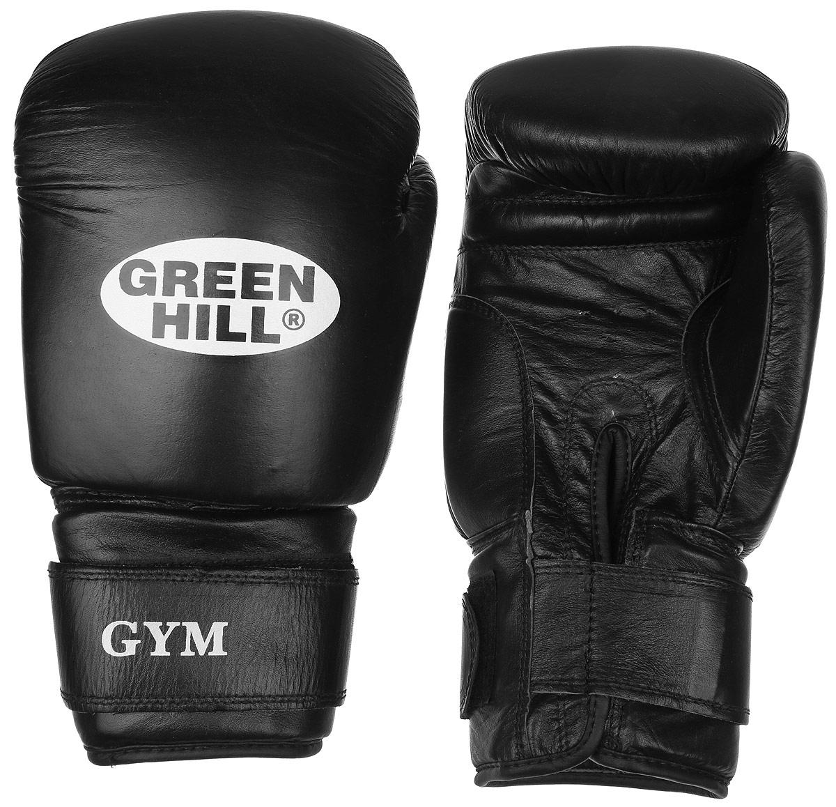Перчатки боксерские Green Hill Gym, цвет: черный, белый. Вес 18 унцийBGG-2018Боксерские перчатки Green Hill Gym подходят для всех видов единоборств где применяют перчатки. Подойдет как для бокса, так и для кикбоксинга. Новички и профессионалы высоко ценят эту модель за универсальность. Верхняя часть перчатки выполнена из натуральной кожи, наполнитель - пенополиуретан. Перфорированная поверхность в области ладони позволяет создать максимально комфортный терморежим во время занятий. Закрепляется на руке при помощи липучки.