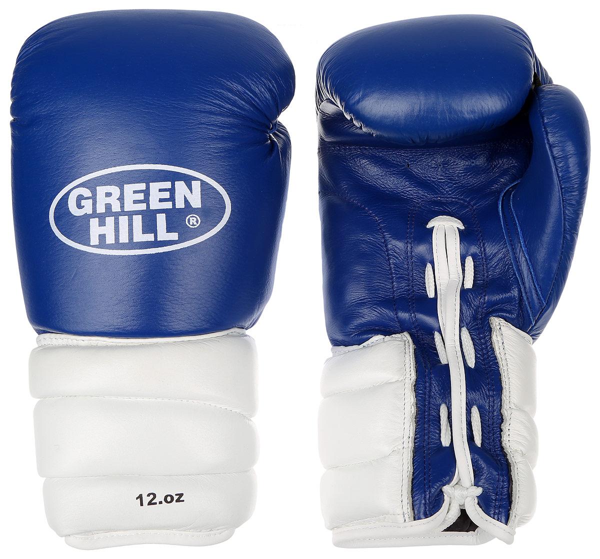 Перчатки боксерские Green Hill Pro Star, цвет: синий, белый. Вес 12 унций. BGPS-2012AP02013Тренировочные боксерские перчатки Green Hill Pro Star отлично подойдут для спаррингов. Верх выполнен из натуральной кожи, наполнитель - из вспененного полимера. Отверстие в области ладони позволяет создать максимально комфортный терморежим во время занятий. Удлиненный сегментированный манжет способствует быстрому и удобному надеванию перчаток, плотно фиксирует их на руке.