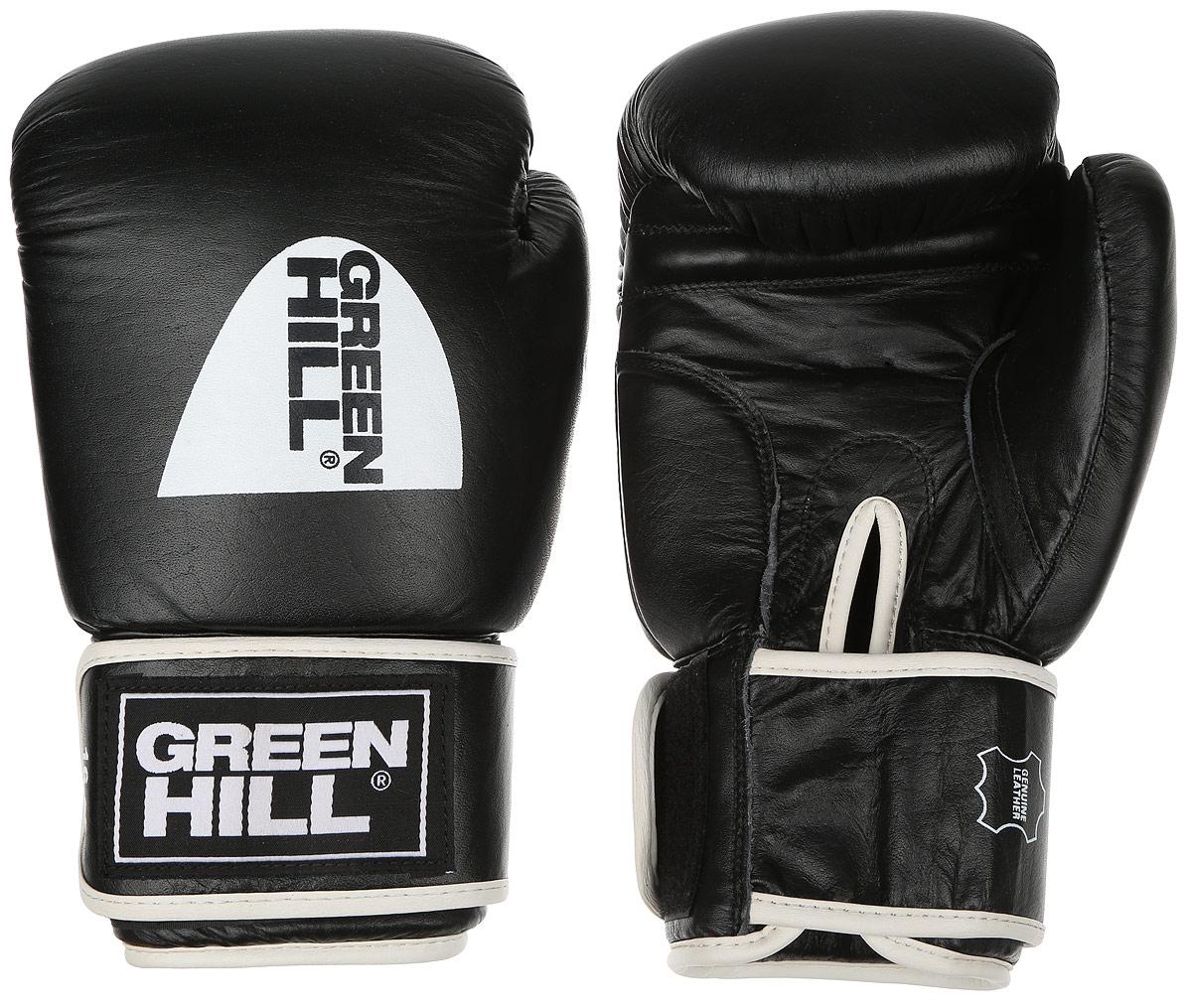 Перчатки боксерские Green Hill Gym, цвет: черный, белый. Вес 16 унцийBGG-2018Боксерские перчатки Green Hill Gym подходят для всех видов единоборств где применяют перчатки. Подойдет как для бокса, так и для кикбоксинга. Новички и профессионалы высоко ценят эту модель за универсальность. Верхняя часть перчатки выполнена из натуральной кожи, наполнитель - пенополиуретан. Перфорированная поверхность в области ладони позволяет создать максимально комфортный терморежим во время занятий. Закрепляется на руке при помощи липучки.
