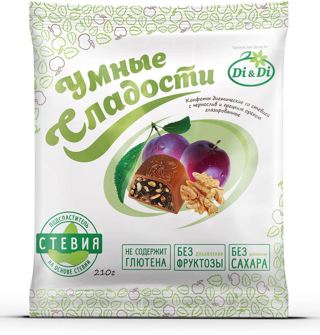 Умные сладости конфеты Чернослив с грецким орехом в шоколадной глазури, 210 г 4650061333966
