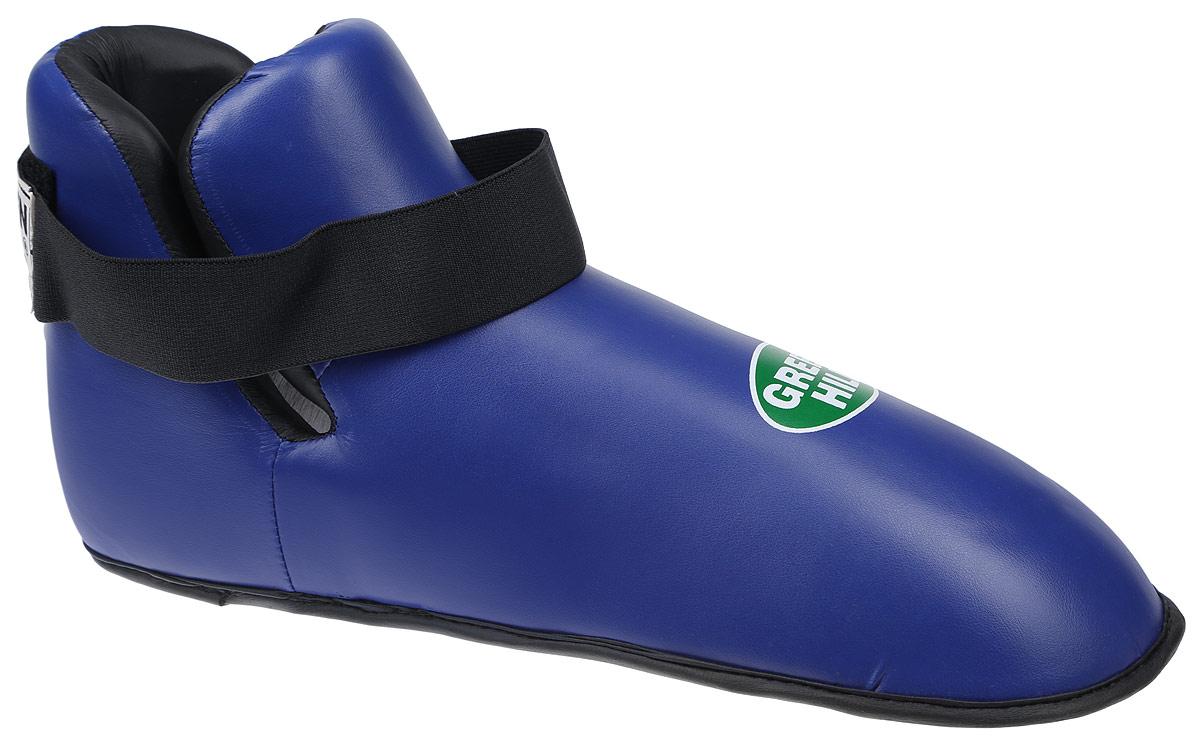 Футы Green Hill Panther, цвет: синий, черный. Размер XXL. KBSP-3076QNT1133Футы Green Hill Panther применяются для занятий кикбоксингом. Выполнены из высококачественной искусственной кожи, наполнитель - вспененный полимер. Резинки на липучке в задней части футов обеспечивают лучшую фиксацию ноги.Длина стопы: 36 см. Ширина: 13 см.Размер ноги должен быть меньше на 1-1,5 см.