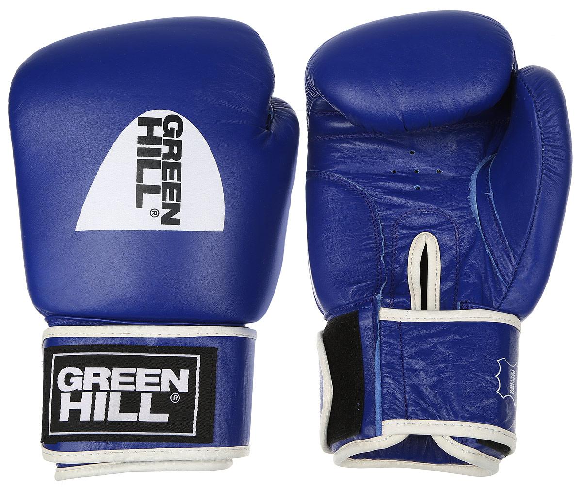 "Перчатки боксерские Green Hill ""Gym"", цвет: синий, белый. Вес 16 унций BGG-2018"