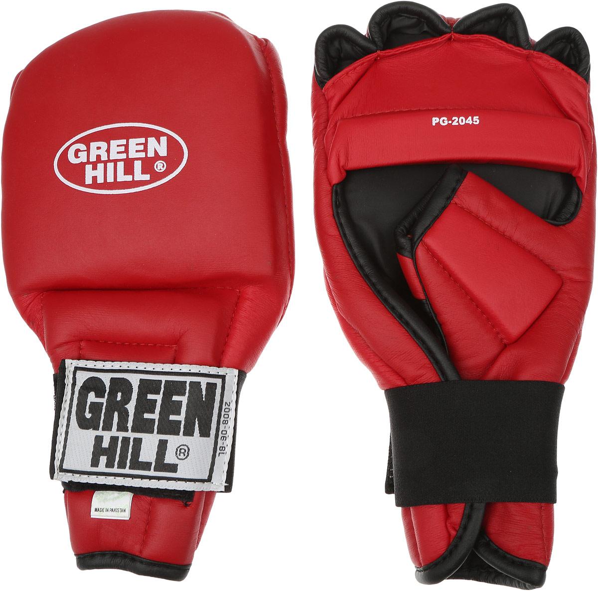 Перчатки для рукопашного боя Green Hill, цвет: красный, черный. Размер XL. PG-2045PG-2045Перчатки для рукопашного боя Green Hill произведены из высококачественной искусственной кожи. Подойдут для занятий кунг-фу. Конструкция предусматривает открытые пальцы — необходимый атрибут для проведения захватов. Манжеты на липучках позволяют быстро снимать и надевать перчатки без каких-либо неудобств. Анатомическая посадка предохраняет руки от повреждений.