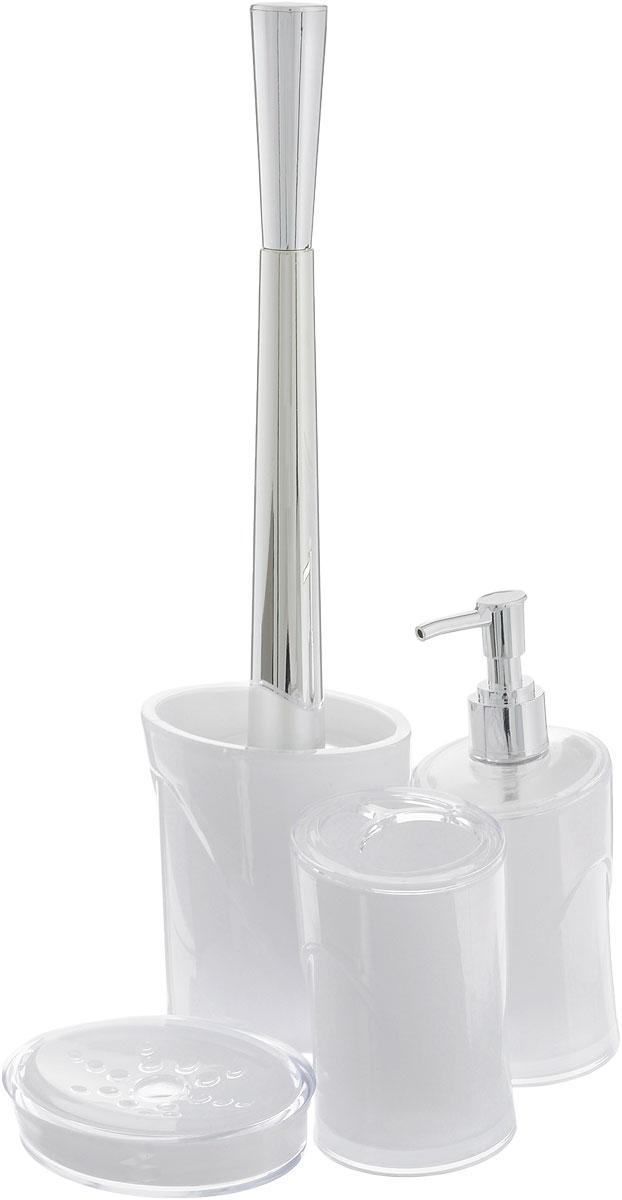 Набор для ванной комнаты Indecor, цвет: белый, 4 предмета. IND039IND039wНабор для ванной комнаты Indecor состоит из стакана для зубных щеток, дозатора для жидкого мыла, мыльницы и ершика. Стакан, дозатор, мыльница и ершик изготовлены из высококачественного пластика. Аксессуары, входящие в набор Indecor, выполняют не только практическую, но и декоративную функцию. Они способны внести в помещение изысканность, сделать пребывание в нем приятным и даже незабываемым. Размер стакана для зубных щеток: 7 х 7 х 11 см. Объем стакана: 300 мл. Размер дозатора: 7 х 7 х 17,5 см. Объем дозатора: 300 мл. Размер мыльницы: 11,5 х 9 х 3 см. Длина ершика (с ручкой): 35 см. Размер подставки: 9,5 х 9,5 х 13 см.