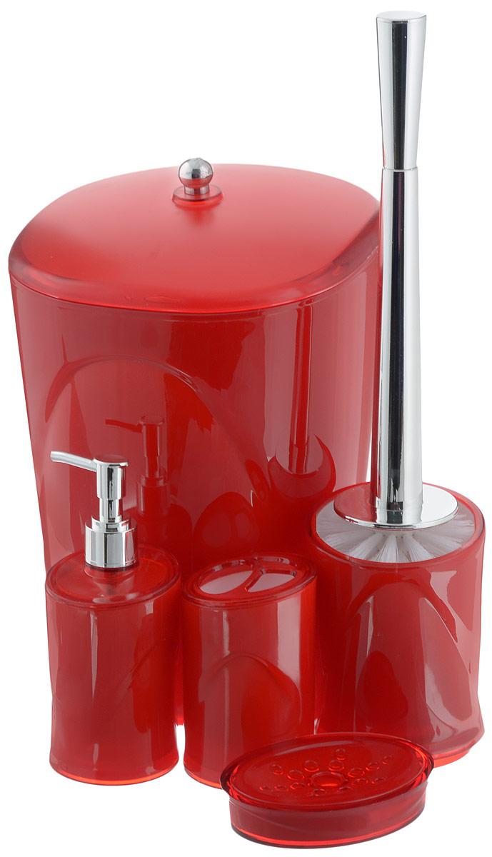 Набор для ванной комнаты Indecor, цвет: красный, 5 предметовIND034rНабор для ванной комнаты Indecor состоит из стакана для зубных щеток, дозатора для жидкого мыла, мыльницы, ершика и ведра с крышкой. Стакан, дозатор, мыльница, ершик и ведро изготовлены из высококачественного пластика. Аксессуары, входящие в набор Indecor, выполняют не только практическую, но и декоративную функцию. Они способны внести в помещение изысканность, сделать пребывание в нем приятным и даже незабываемым. Размер стакана для зубных щеток: 7 х 7 х 11 см. Объем стакана: 300 мл. Размер дозатора: 7 х 7 х 17,5 см. Объем дозатора: 300 мл. Размер мыльницы: 11,5 х 9 х 3 см. Длина ершика (с ручкой): 35 см. Размер подставки для ершика: 9,5 х 9,5 х 13 см. Размер ведра (без учета крышки): 20 х 20 х 26,5 см. Объем ведра: 5 л.