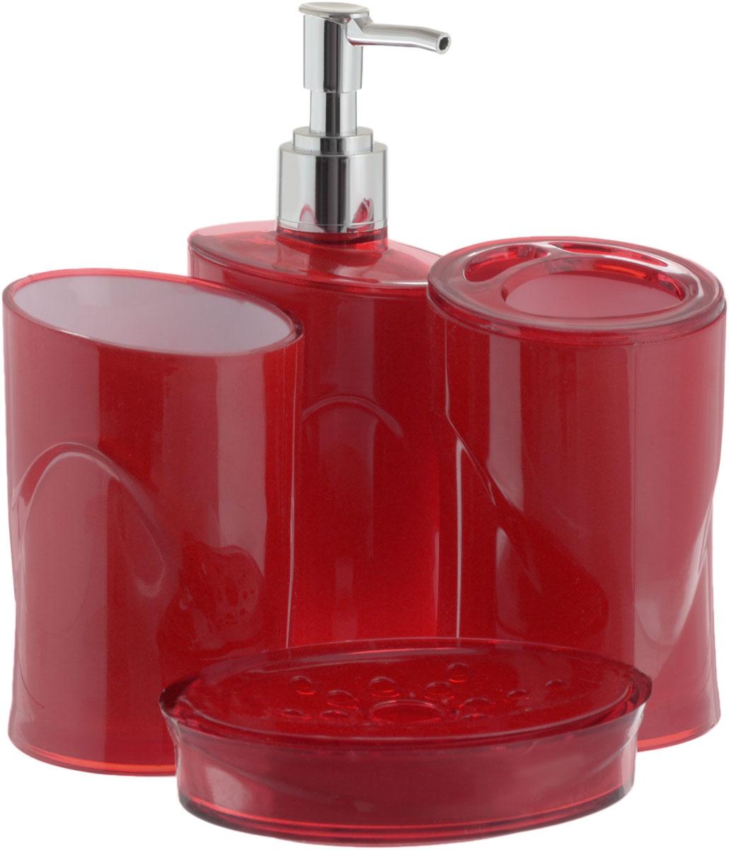 Набор для ванной комнаты Indecor, цвет: красный, 4 предметаUP210DFНабор для ванной комнаты Indecor состоит из стакана, стакана для зубных щеток, дозатора для жидкого мыла и мыльницы. Стаканы, дозатор и мыльница изготовлены из высококачественного пластика. Аксессуары, входящие в набор Indecor, выполняют не только практическую, но и декоративную функцию. Они способны внести в помещение изысканность, сделать пребывание в нем приятным и даже незабываемым. Размер стаканов: 7 х 7 х 11 см.Объем стаканов: 300 мл.Размер дозатора: 7 х 7 х 17,5 см. Объем дозатора: 300 мл.Размер мыльницы: 11,5 х 9 х 3 см.