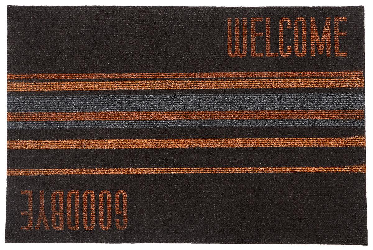Коврик придверный EFCO Нью Эден, цвет: коричневый, рыжий, 68 х 45 см18420_коричневый/рыжий/полоска/Оригинальный придверный коврик EFCO Нью Эден надежно защитит помещение от уличной пыли и грязи. Изделие выполнено из 100% полипропилена, основа - суперлатекс. Такой коврик сохранит привлекательный внешний вид на долгое время, а благодаря латексной основе, он легко чистится и моется.