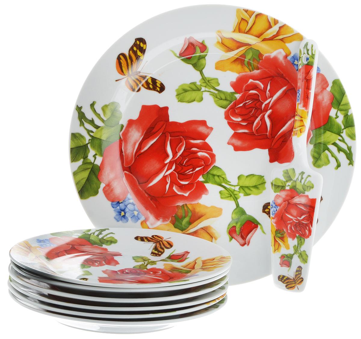 Набор для торта Bella, 8 предметов. DL-S8CB-176DL-S8CB-176Набор для торта Bella состоит из 7 тарелок и лопатки. Изделия выполнены из высококачественного фарфора и оформлены ярким рисунком. Набор идеален для подачи тортов, пирогов и другой выпечки. Яркий дизайн сделает набор изысканным украшением праздничного стола. Диаметр меленьких тарелок: 19,5 см. Диаметр большой тарелки: 26,5 см. Размеры лопатки: 23,5 х 5,5 х 2 см.