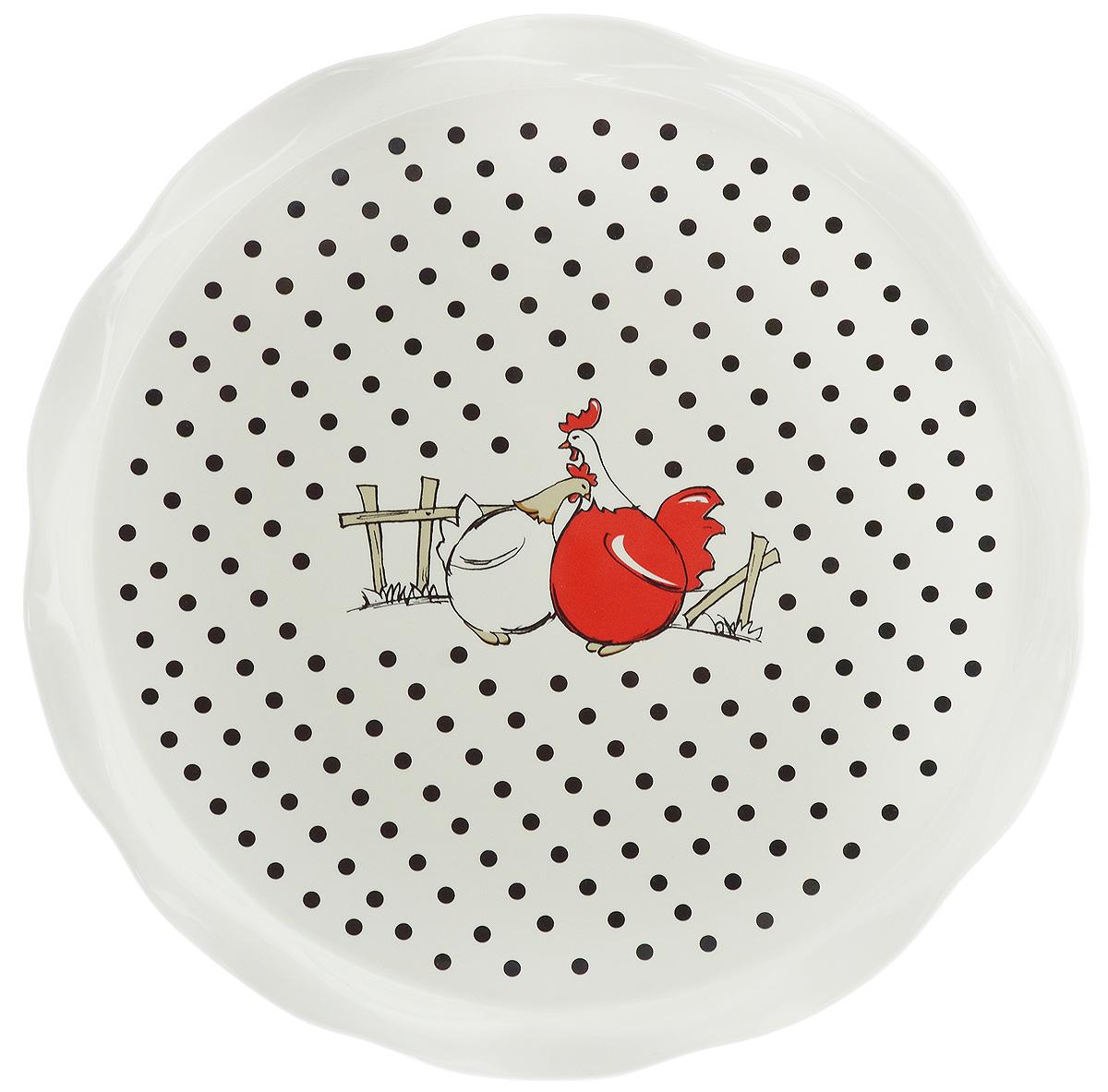 Блюдо круглое Bella, диаметр 30 смCM000001328Круглое блюдо Bella изготовлено из высококачественной керамики и декорировано изображением птиц. Такое оригинальное блюдо идеально подойдет для красивой сервировки стола.Рекомендуется мыть вручную с использованием неабразивных моющих средств.Диаметр блюда: 30 см.Высота блюда: 1,9 см.