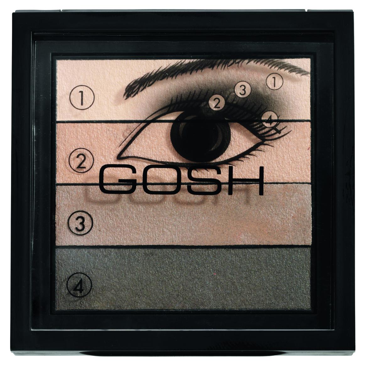 Gosh, Палетка теней для век Smokey, 8 г, 02710549Четыре великолепных, гармоничных оттенка, собранные в тени Smokey Eyes! На сегодняшний день макияж Smokey Eyes является самым трендовым макияжем в мире красоты. С новой палеткой от Gosh каждая девушка сможет воплотить в реальность мечту и создать ультрамодный макияж без помощи специалиста. Для удобства к теням прилагается табличка по нанесению оттенков, что позволяет самостоятельно получить профессиональный результат. Насыщенные цветовые пигменты и очень мягкая текстура обеспечивают устойчивый макияж в течение всего дня.