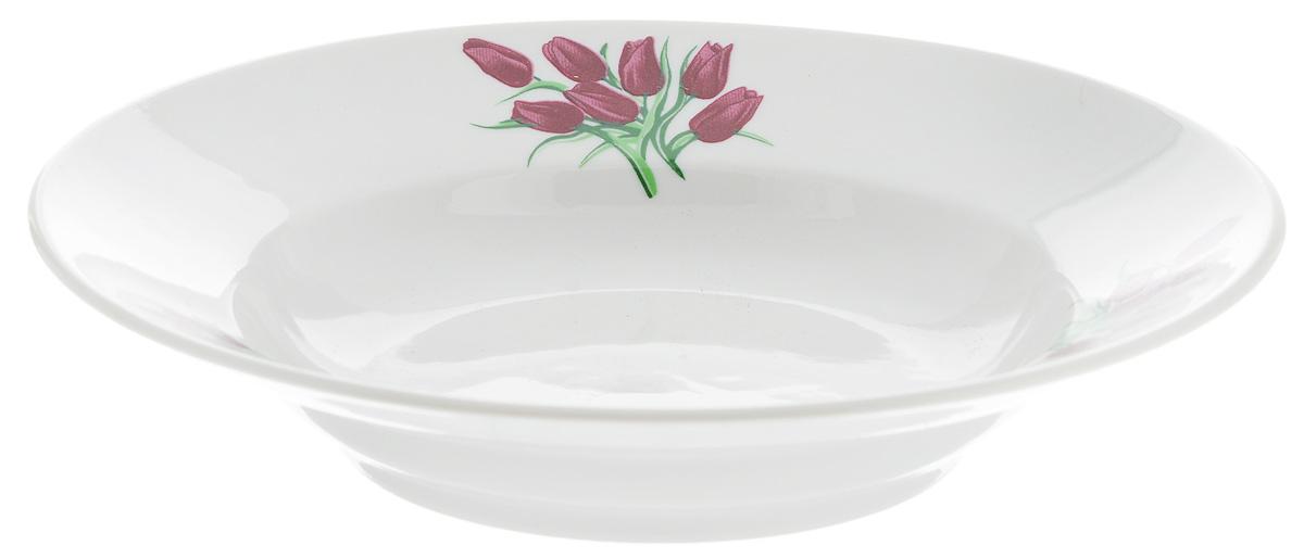 Тарелка глубокая Фарфор Вербилок Тюльпаны, диаметр 19 см15890980Тарелка Фарфор Вербилок Тюльпаны, изготовленная из высококачественного фарфора, имеет классическую круглую форму. Она прекрасно впишется в интерьер вашей кухни и станет достойным дополнением к кухонному инвентарю. Идеально подойдет для подачи супов. Тарелка Фарфор Вербилок Тюльпаны подчеркнет прекрасный вкус хозяйки и станет отличным подарком. Диаметр тарелки (по верхнему краю): 19 см. Высота тарелки: 4 см.