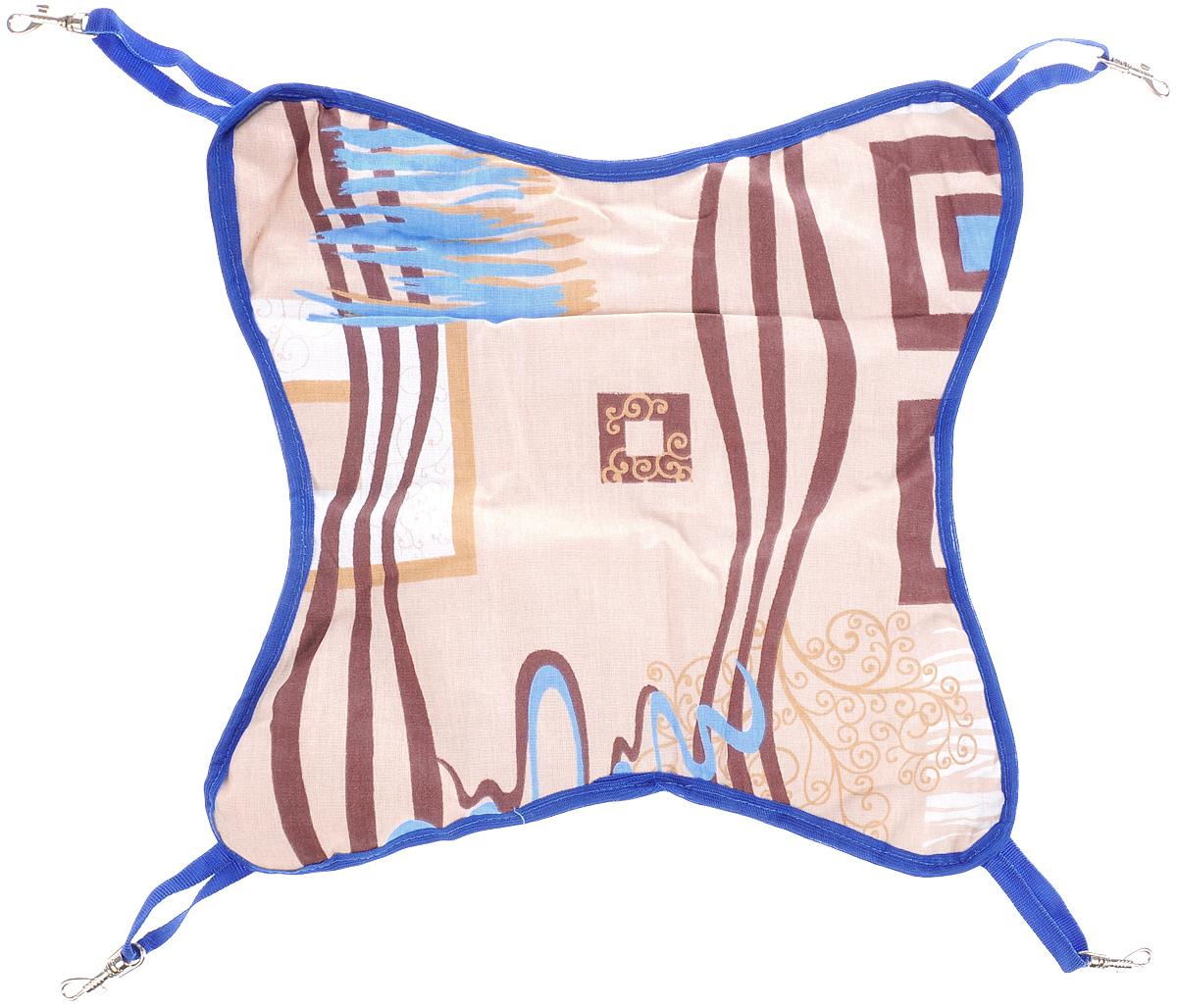 Гамак для шиншилл и хорьков ЗооМарк, подвесной, цвет: бежевый, коричневый, синий. Д-110120710Гамак ЗооМарк станет лучшим подарком для вашего любимца.Гамак выполнен из высококачественных материалов и оснащен 4 специальными креплениями на карабинах. Мягкий подвесной гамак ЗооМарк надолго привлечет внимание животного и обеспечит интересным времяпровождением. Размеры изделия: 40 х 40 см. Длина крепления (без учета карабина): 9 см.