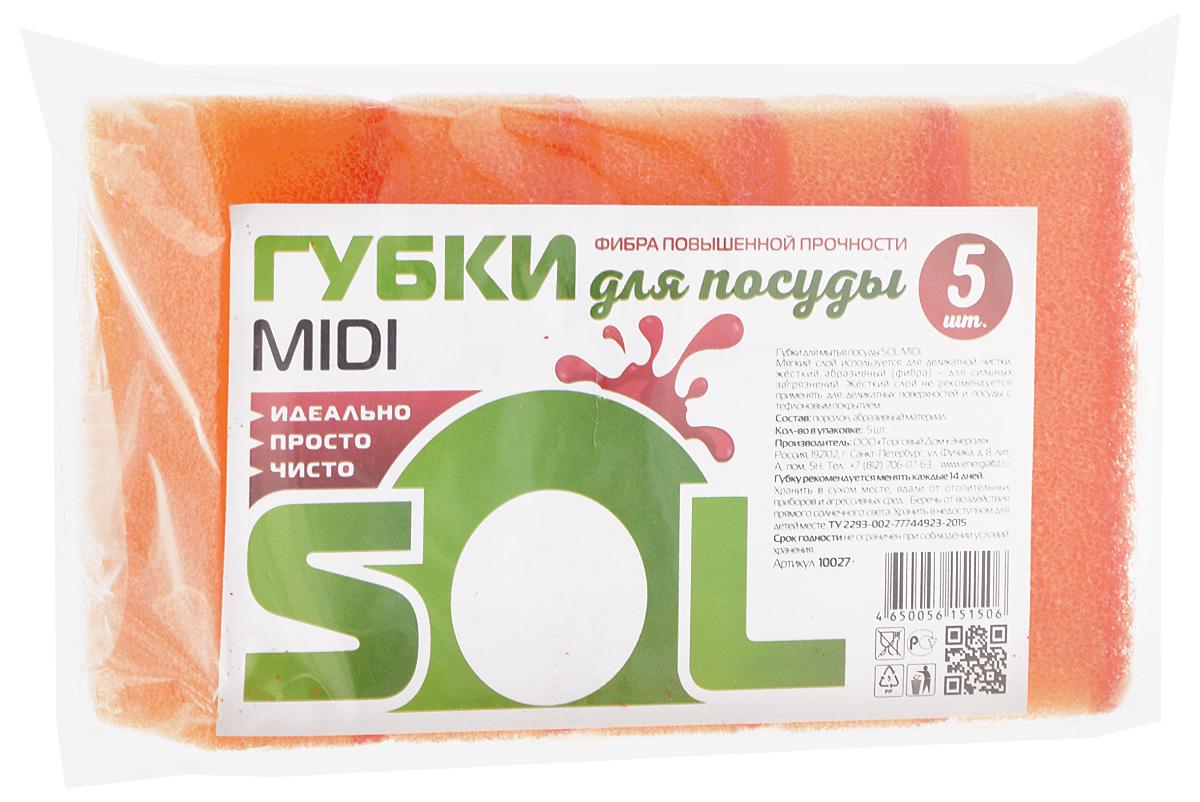 Губка для мытья посуды Sol Midi, цвет: оранжевый, 5 шт10027_оранжевыйГубки Sol Midi предназначены для мытья посуды и других поверхностей. Выполнены из поролона и абразивного материала. Мягкий слой используется для деликатной чистки и способствует образованию пены, жесткий - для сильных загрязнений. Размер губки: 5 х 8 х 2,5 см.