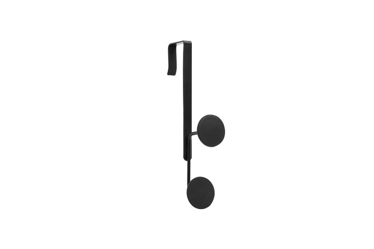 Крючок на дверь Umbra Yook, двойной, цвет: черный318246-038Двойной крючок с прорезиненными насадками, похожими на сувенирные значки. Благодаря такой форме крючков, вещи будут надежно закреплены, а ткань на них не растянется. Навешивается на дверь при помощи специальных креплений, которые входят в комплект. Каждый крючок выдерживает нагрузку в 2,25 кг.