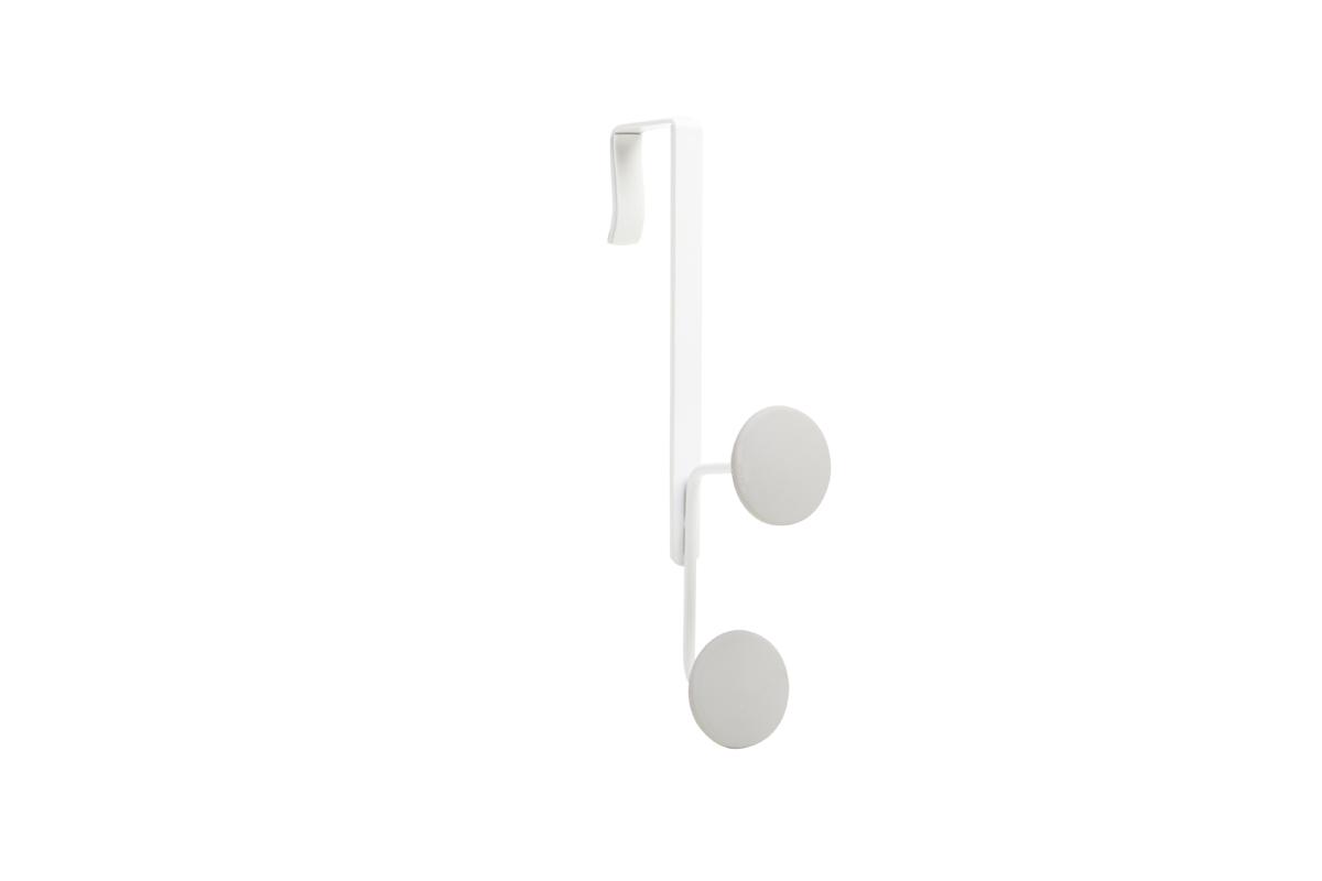 Крючок на дверь Umbra Yook, двойной, цвет: белый318246-910Двойной крючок с прорезиненными насадками, похожими на сувенирные значки. Благодаря такой форме крючков, вещи будут надежно закреплены, а ткань на них не растянется. Навешивается на дверь при помощи специальных креплений, которые входят в комплект. Каждый крючок выдерживает нагрузку в 2,25 кг.