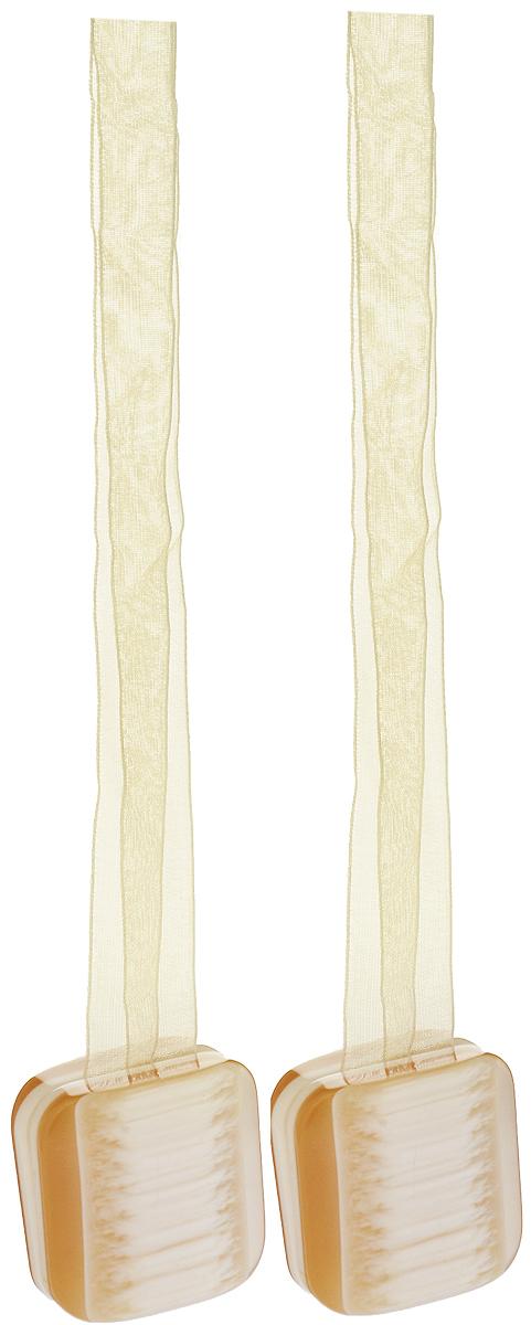 Подхват для штор TexRepublic Ajur. Lenta, на магнитах, цвет: золотистый, 2 шт. 79013790009Изящный подхват для штор TexRepublic Ajur. Lenta, выполненный из пластика и текстиля, можно использовать как держатель для штор или для формирования декоративных складок на ткани. С его помощью можно зафиксировать шторы или скрепить их, придать им требуемое положение, сделать симметричные складки. Благодаря магнитам подхват легко надевается и снимается.Подхват для штор является универсальным изделием, которое превосходно подойдет для любых видов штор. Подхваты придадут шторам восхитительный, стильный внешний вид и добавят уют в интерьер помещения.Длина подхвата: 37 см.Количество: 2 шт.