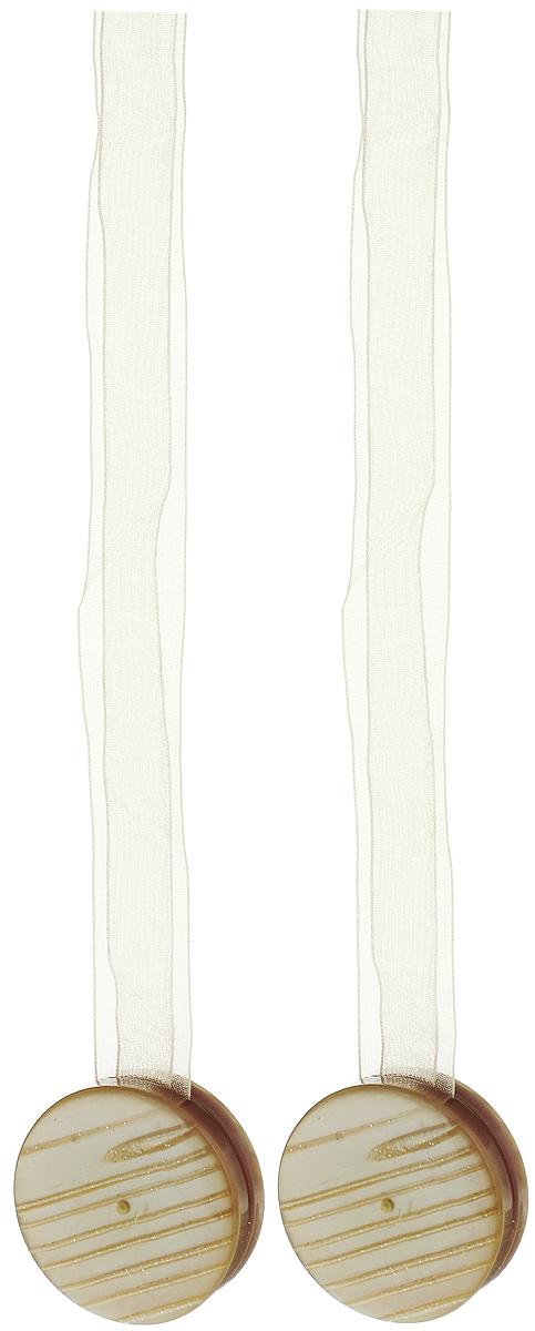 Подхват для штор TexRepublic Ajur. Lenta, на магнитах, цвет: бежевый, диаметр 4 см, 2 шт. 79007790009Изящный подхват для штор TexRepublic Ajur. Lenta, выполненный из пластика и текстиля, можно использовать как держатель для штор или для формирования декоративных складок на ткани. С его помощью можно зафиксировать шторы или скрепить их, придать им требуемое положение, сделать симметричные складки. Благодаря магнитам подхват легко надевается и снимается.Подхват для штор является универсальным изделием, которое превосходно подойдет для любых видов штор. Подхваты придадут шторам восхитительный, стильный внешний вид и добавят уют в интерьер помещения.Длина подхвата: 36 см.Диаметр: 4 см.Количество: 2 шт.