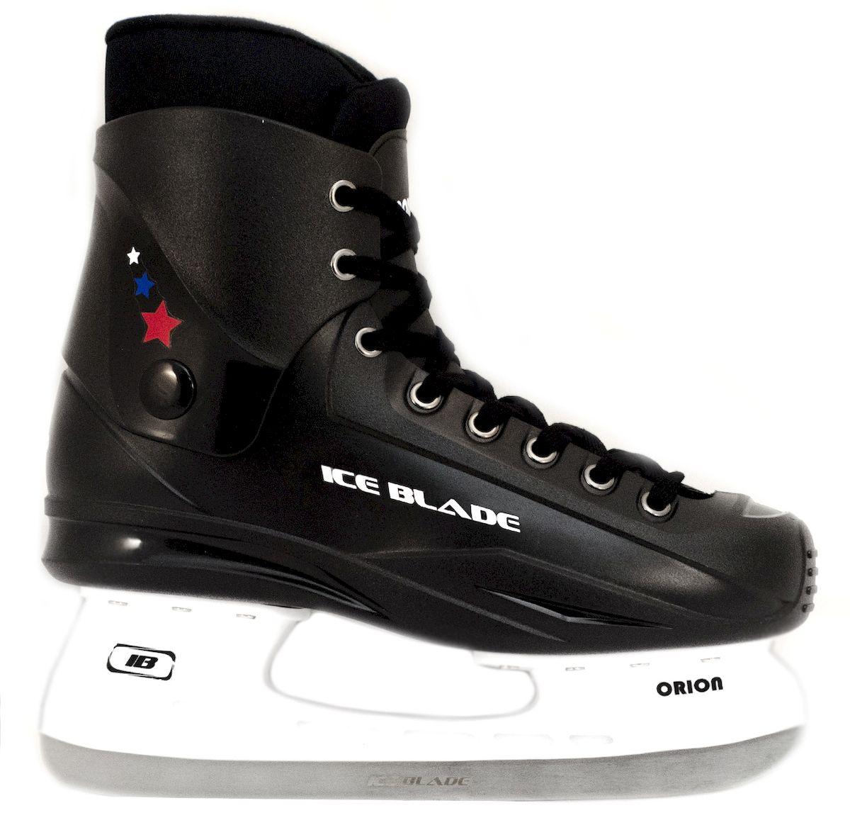 Коньки хоккейные Ice Blade Orion, цвет: черный. УТ-00004984. Размер 45УТ-00004984Коньки хоккейные Orion - это хоккейные коньки для любых возрастов. Конструкция Ice Blade Orion прекрасно защищает стопу, очень комфортно для активного катания, а также позволяет играть в хоккей. Легкий пластиковый ботинок хоккейных коньков Ice Blade Orion очень комфортный как для простого катания на льду, так и для любительского хоккея. Внутренний сапожок утеплен мягким и дышащим материалом, а язычок усилен специальной вставкой для большей безопасности Вашей стопы. Модель Ice Blade Orion также прекрасно подойдет и для коммерческого использования. Данную модель часто покупают для использования в прокате. Материал: Выполнены из высококачественного морозостойкого пластика и нейлоновой сетки. Внутренняя часть отделана мягким вельветом. Материал лезвия - высокоуглеродистая сталь. Основные характеристики: Назначение: хоккейные коньки Тип фиксации: шнурки Дополнительные характеристики: Материал ботинка: высококачественный морозостойкий пластик и нейлоновая сетка...