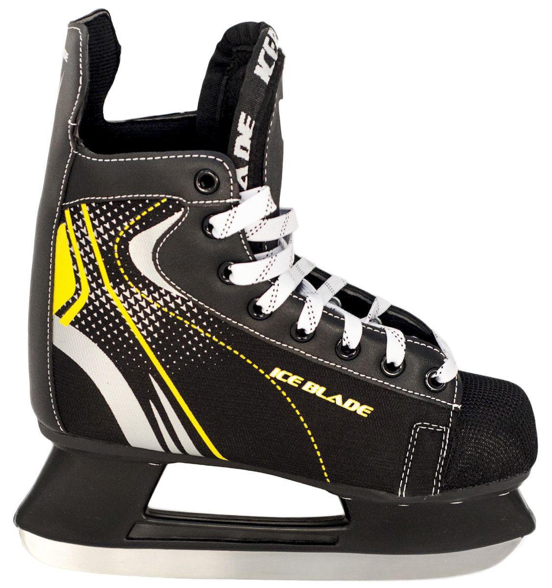 Коньки хоккейные Ice Blade Shark, цвет: черный, желтый. УТ-00006841. Размер 43УТ-00006841Коньки хоккейные Shark - модный яркий дизайн коньков данной модели делает ее очень популярной у любителей хоккея. Модель Shark от Ice Blade также хорошо подойдет и для коммерческого использования. Данная модель часто используется в прокате. Коньки поставляются с заводской заточкой лезвия, что позволяет сразу приступить к катанию, не тратя время и денег на заточку. Коньки подходят для использования на открытом и закрытом льду. Основные характеристики: Назначение: хоккейные коньки Тип фиксации: шнурки Дополнительные характеристики: Материал ботинка: искусственная кожа, высокопрочная нейлоновая ткань, ударостойкий пластик Внутренняя отделка: вельветин с утеплением Лезвие: лезвие выполнено из высокоуглеродистой стали с покрытием из никеля Упаковка: удобная сумка Дополнительно: Гарантия 1 год